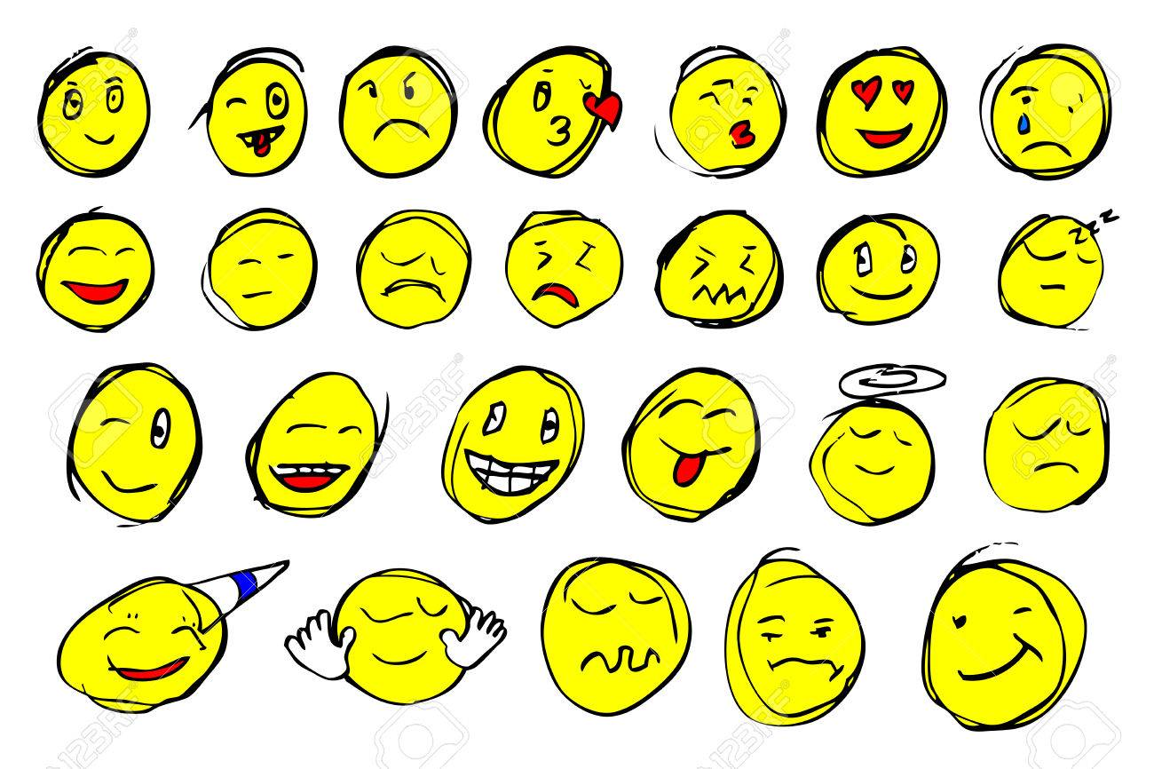 Hand Draw Sketch Emoticon Stock Photo Picture And Royalty Free
