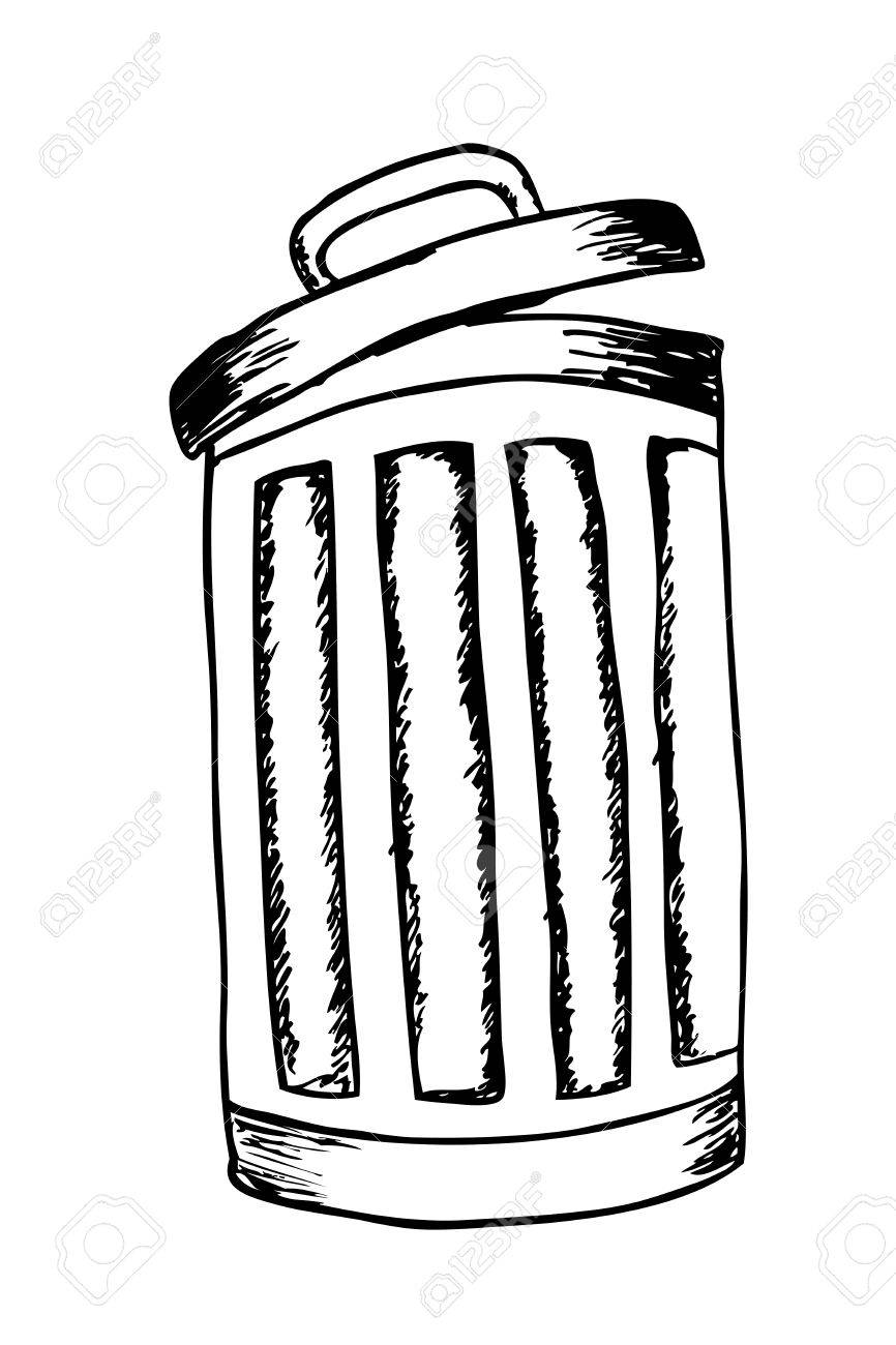 hand draw sketch trash bin stock photo picture and royalty free