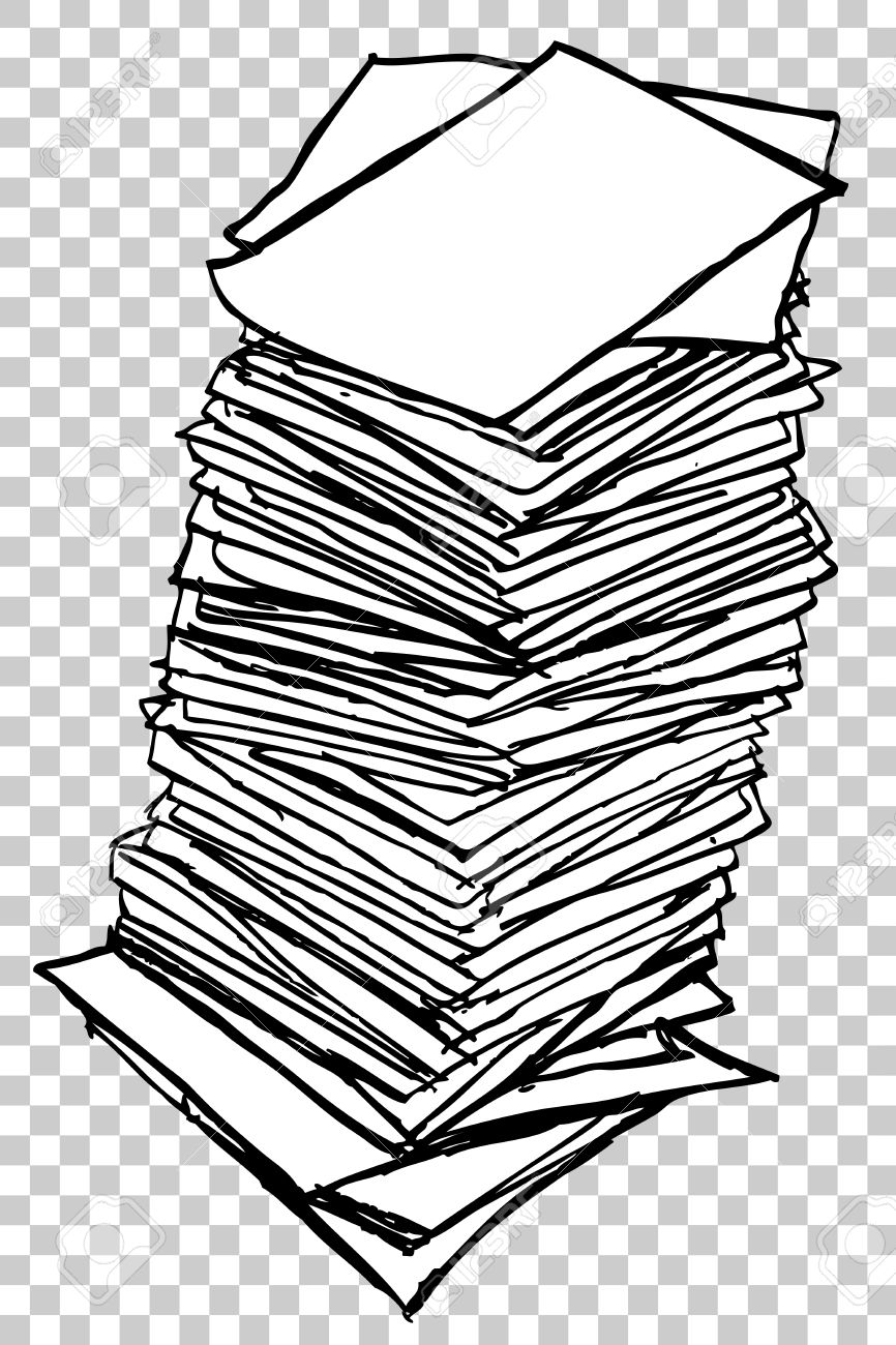 stack of paper, at transparent effect background stock photo