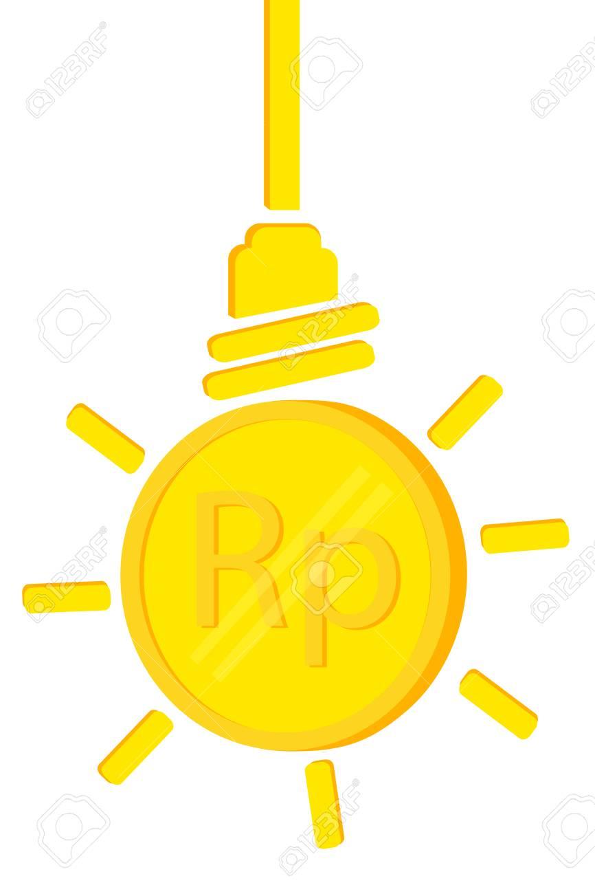 Golden Rupiah Münze Illustration Für Idee Geld Zu Verdienen Oder