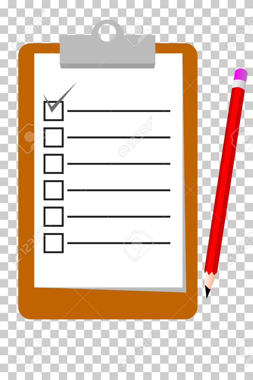 simple vector, checklist at transparent effect background stock