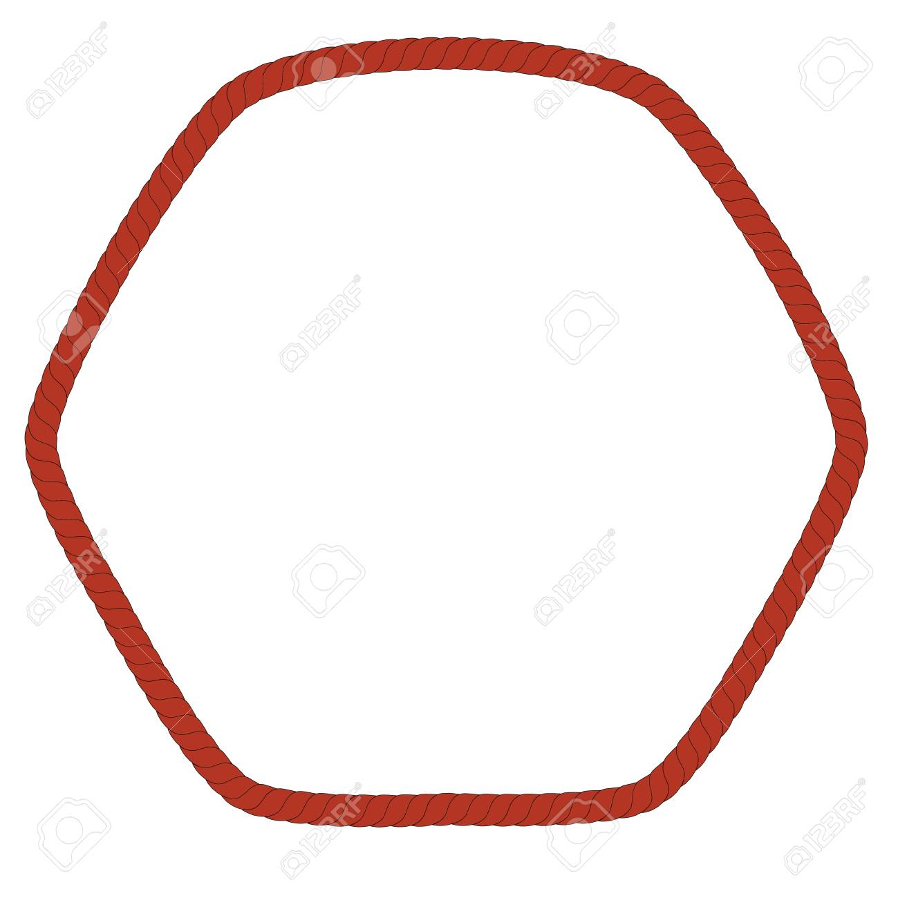 Hexagon Frame From Brown Rope For Your Element Design At Transparent ...