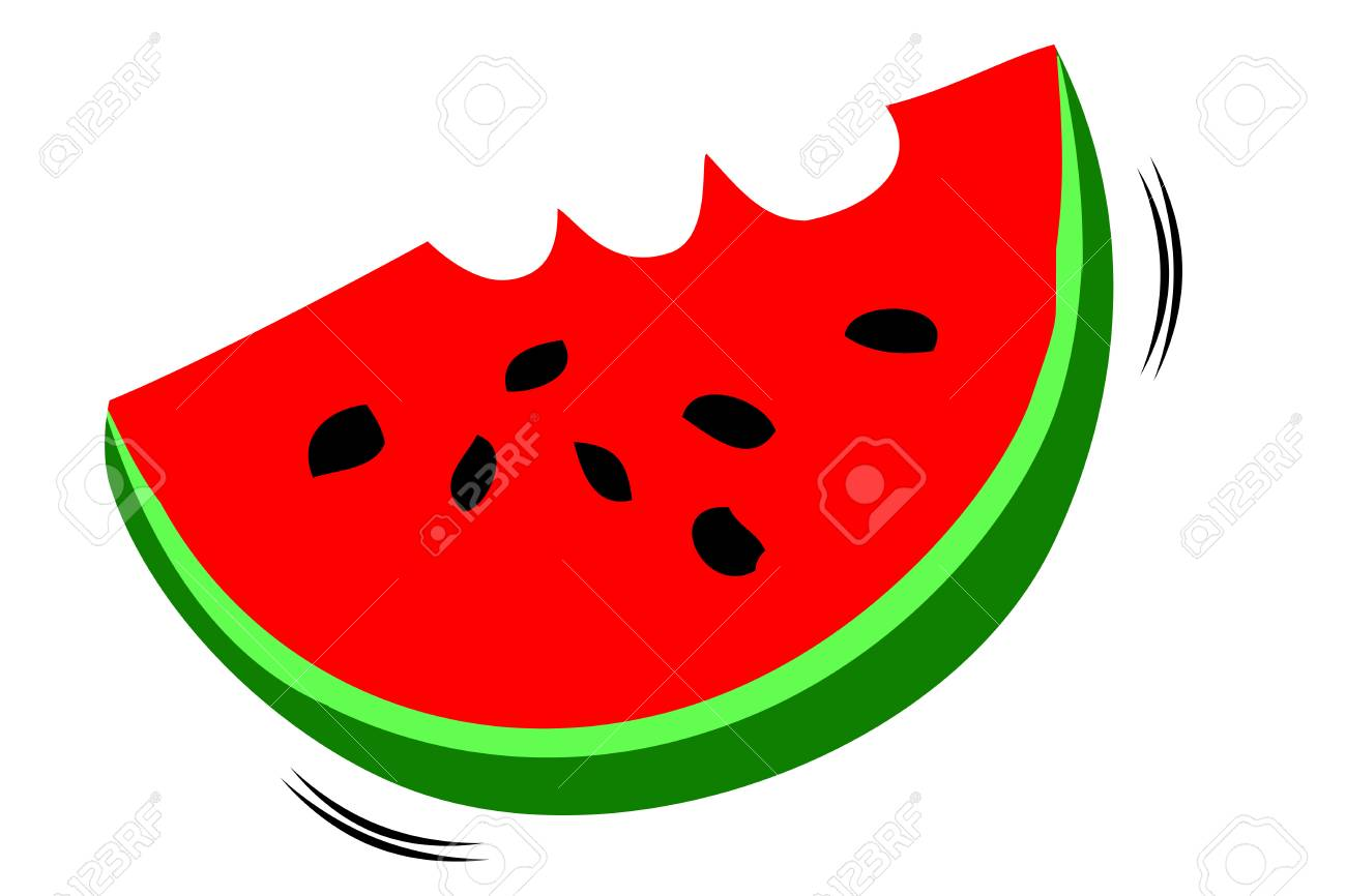 Hand Draw Sketch One Big Slice Watermelon Stock Photo Picture And