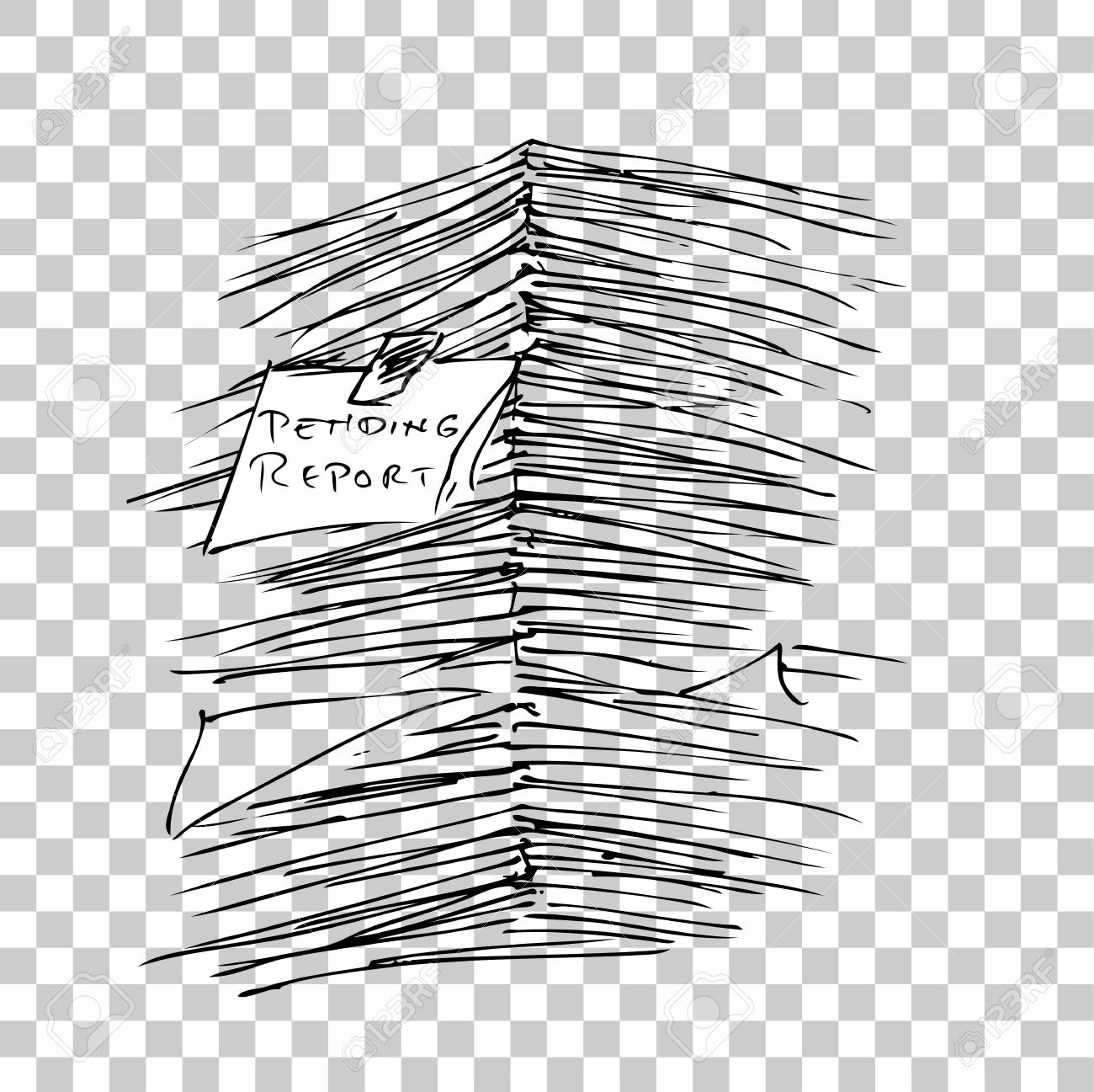 stack of pending report paper, at transparent effect background