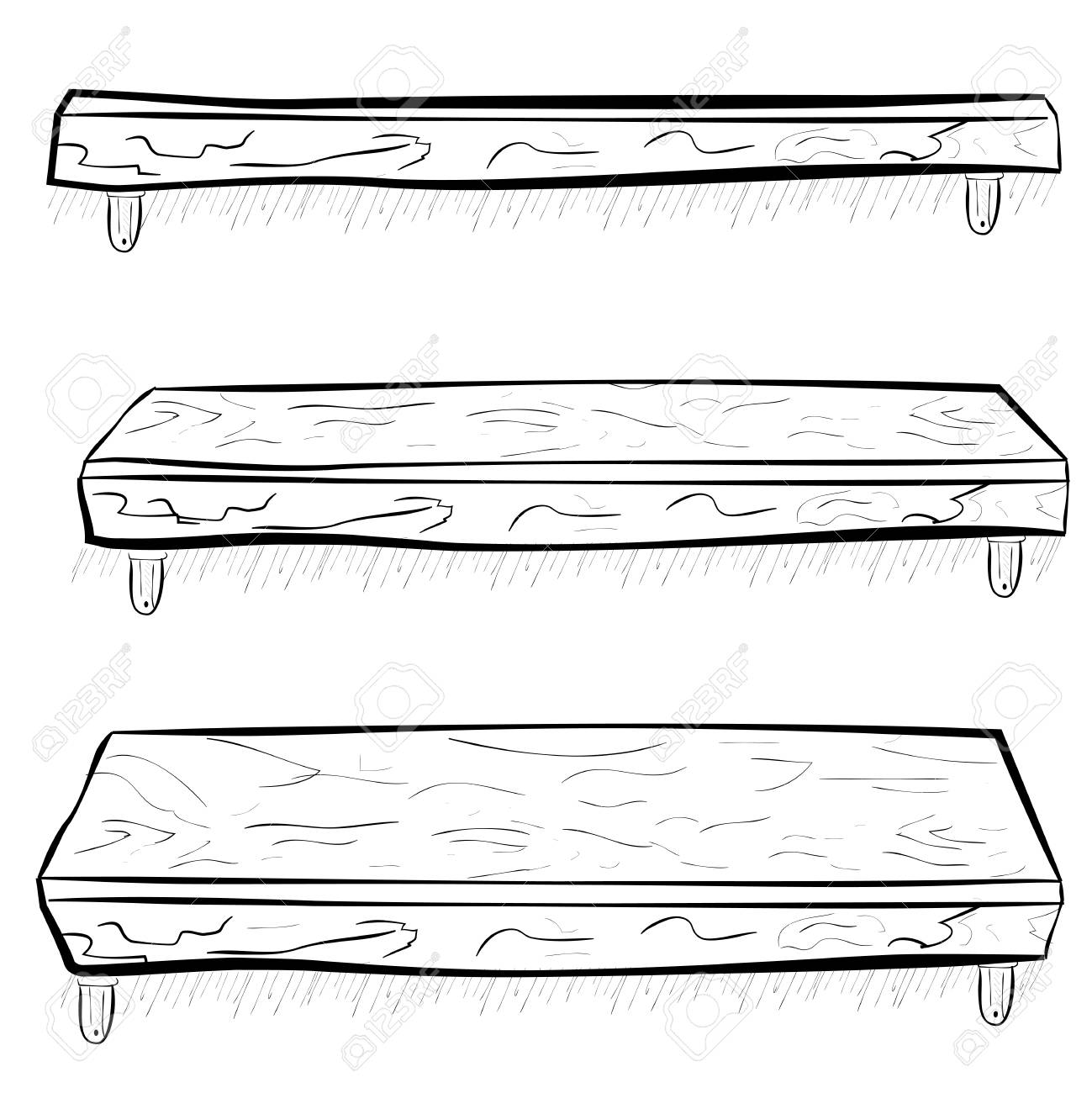 Hand Draw Sketch Wooden Hanging Shelf At Three Point Of View