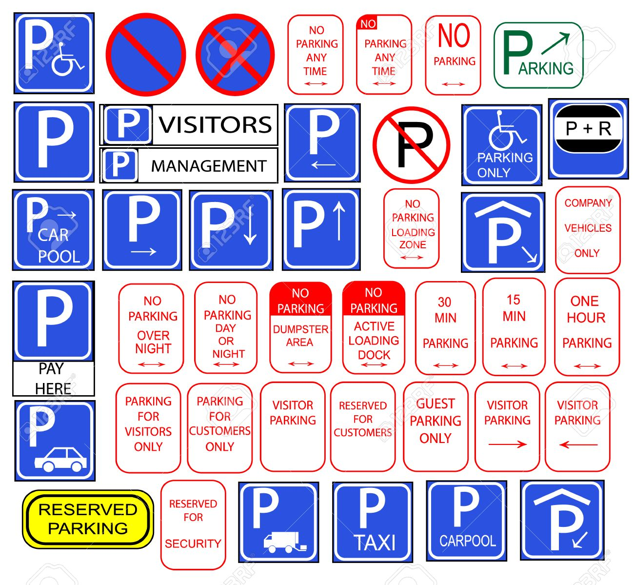 Only parking signs isloted in english Stock Vector - 8397475