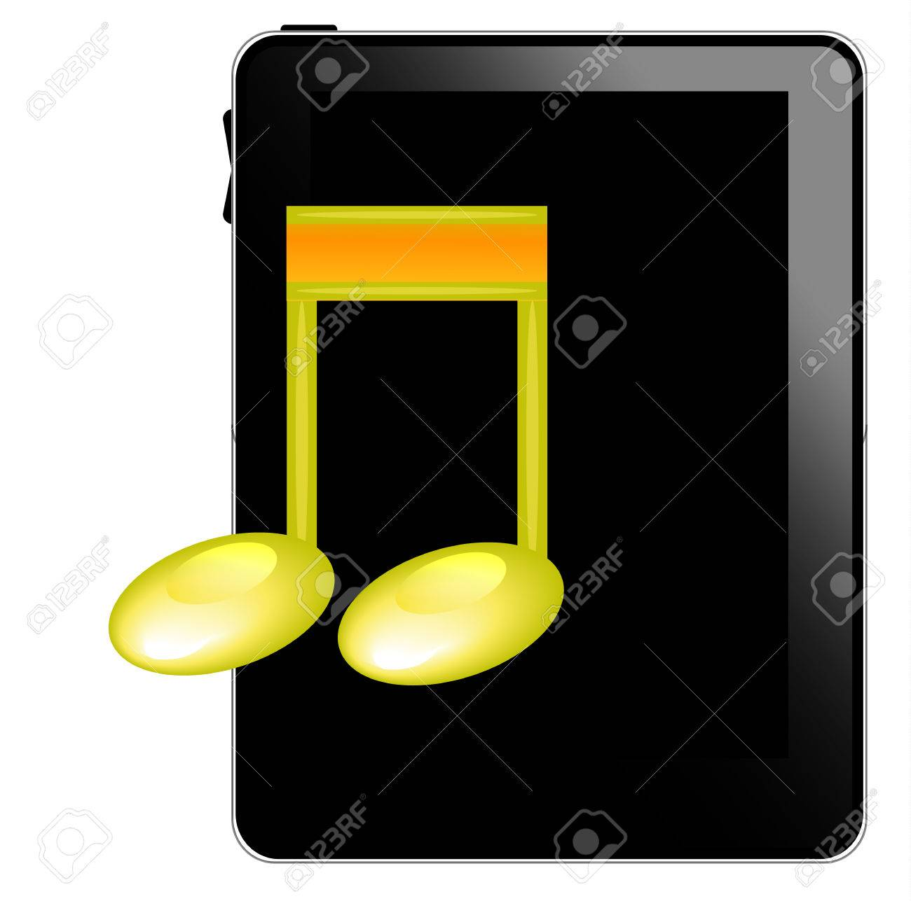 Black tablet pc with music icon Stock Vector - 8738605