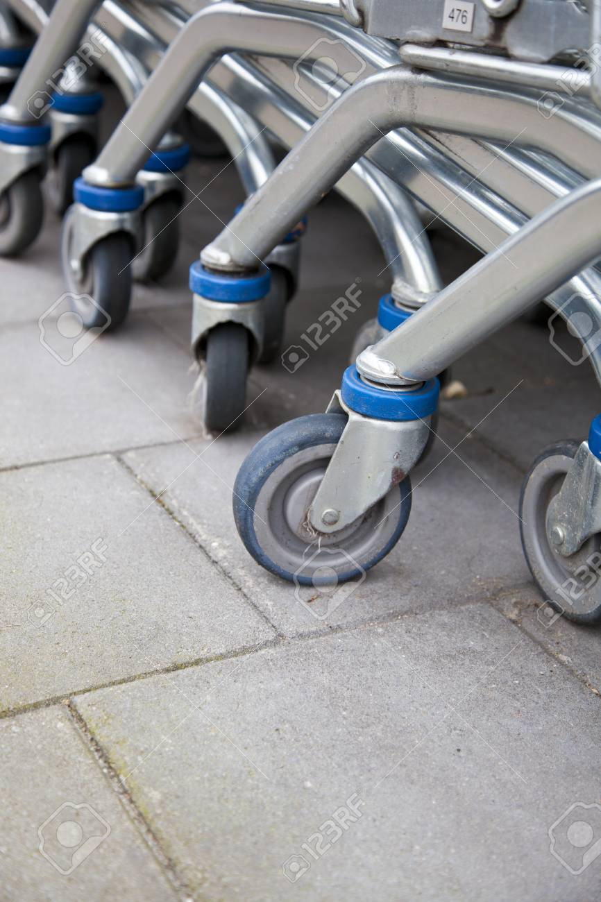 Detail of row shopping carts Stock Photo - 9088032