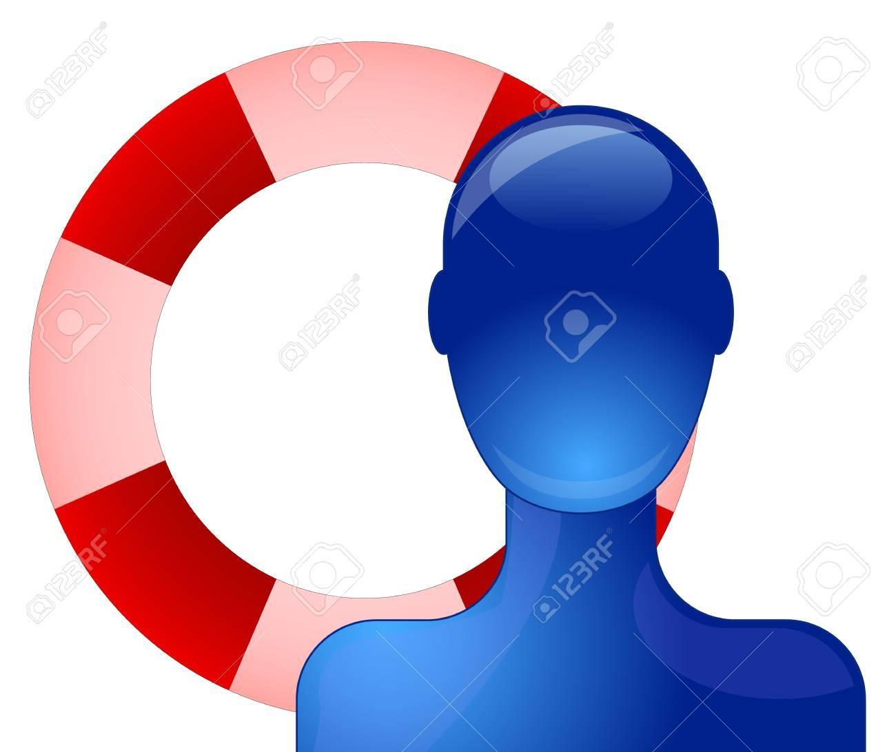 Blue person with life saving buoy Stock Vector - 9342083