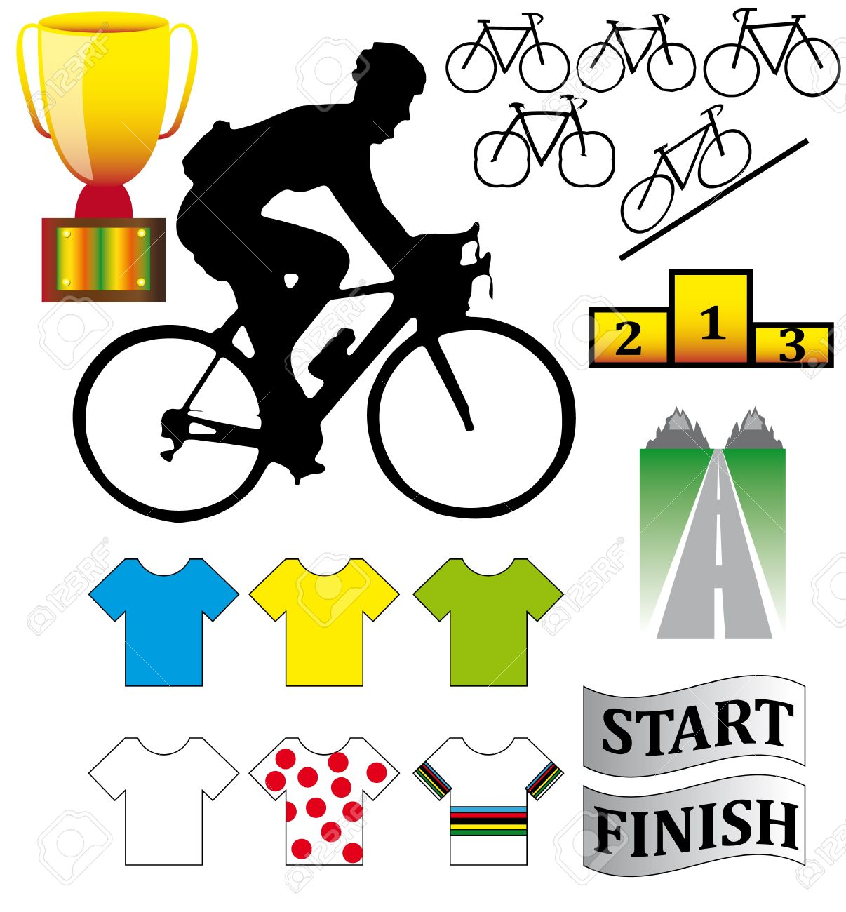 Cycle racing bikes, shirts and other illustrations Stock Vector - 10856846