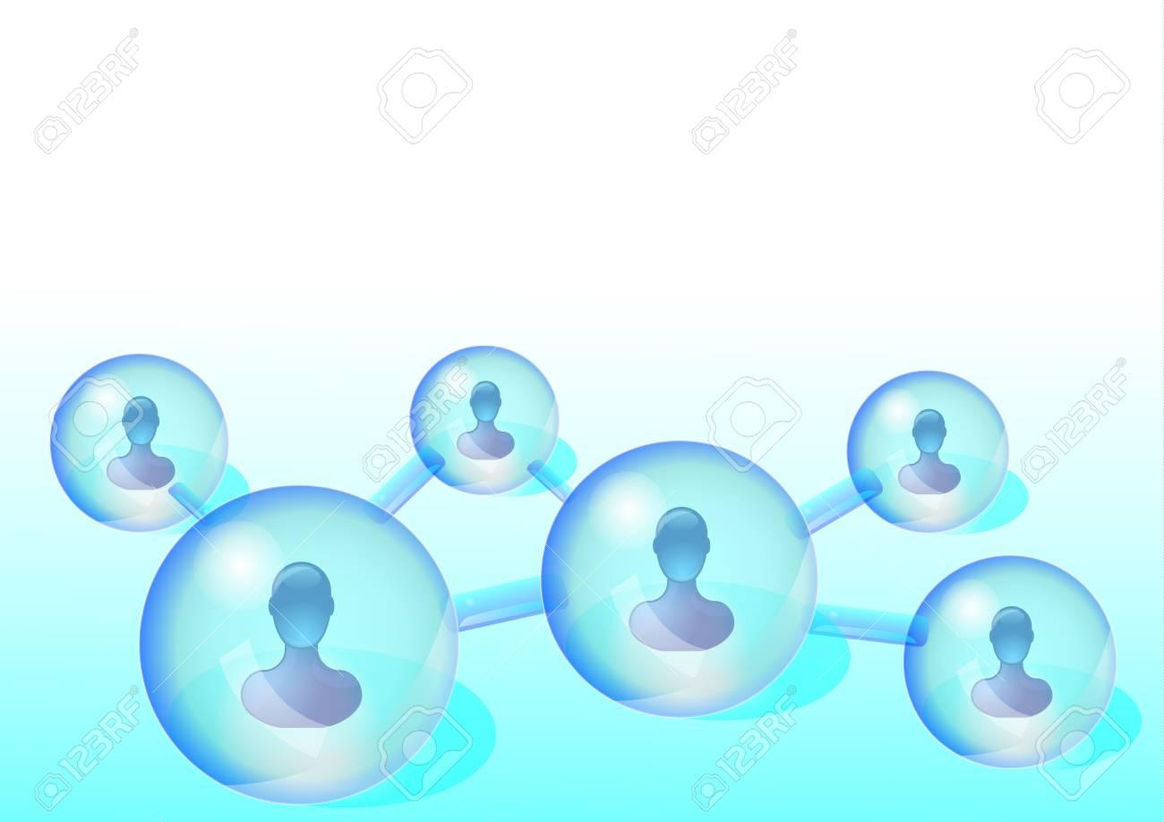 Illustrations of several persons in social media network Stock Illustration - 10856847