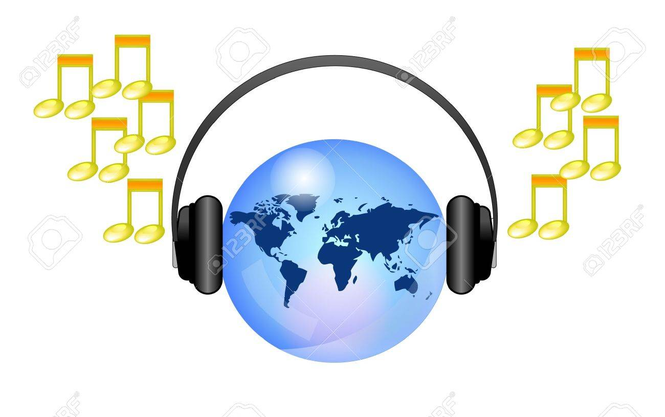 Earth with headphones online music Stock Vector - 11096974