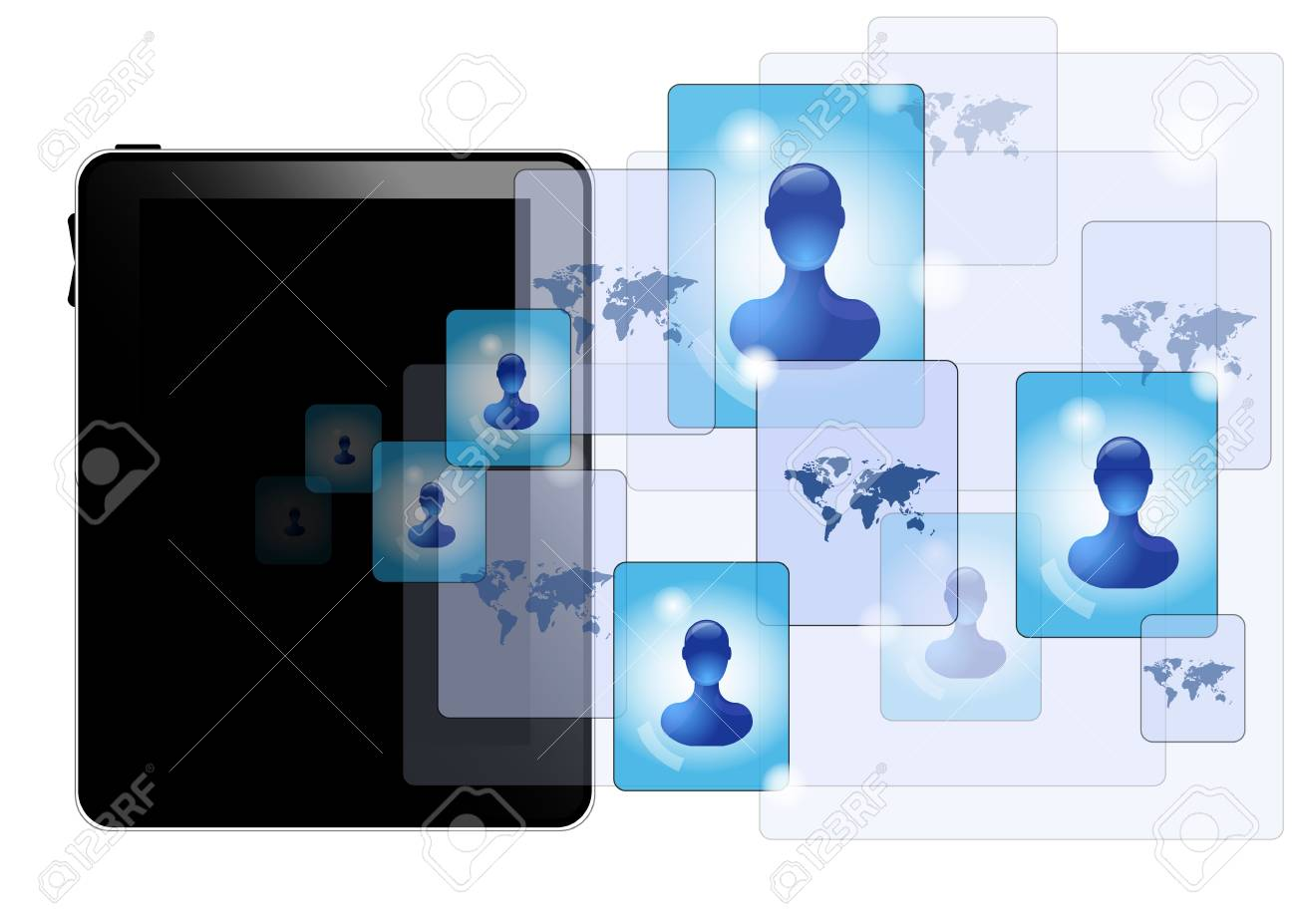Tablet pc with social media Stock Vector - 11252150