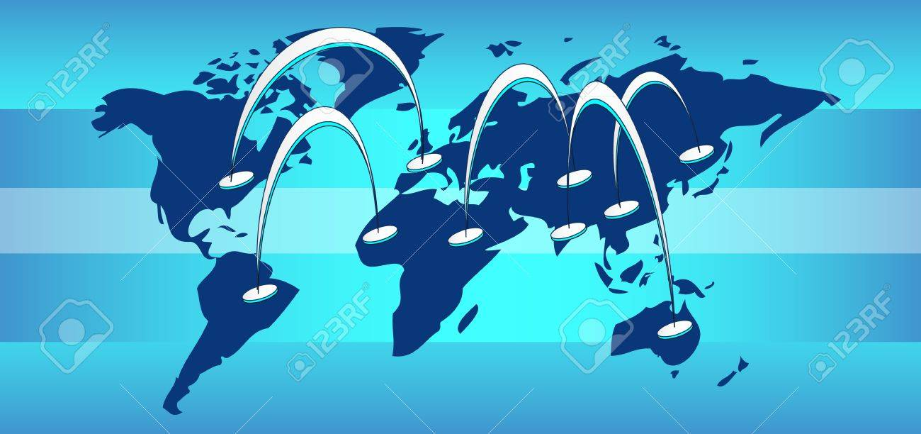 World map with connection lines and blue background Stock Vector - 11814450