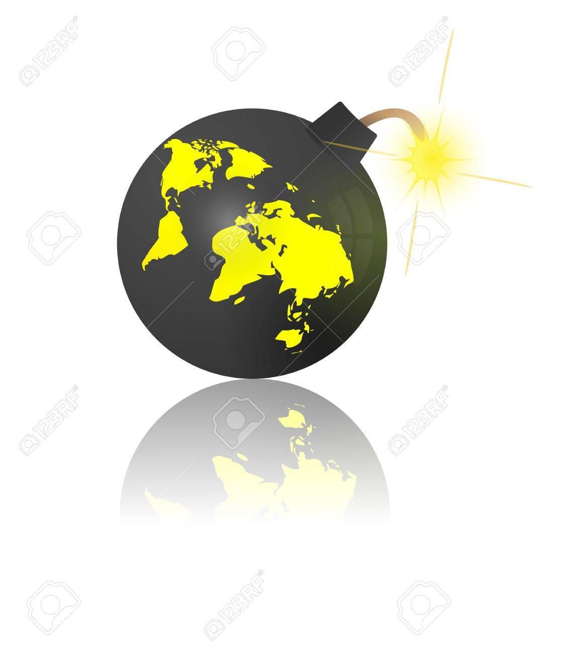 世界の終わり地球地図の爆弾のイラスト素材ベクタ Image 11814577
