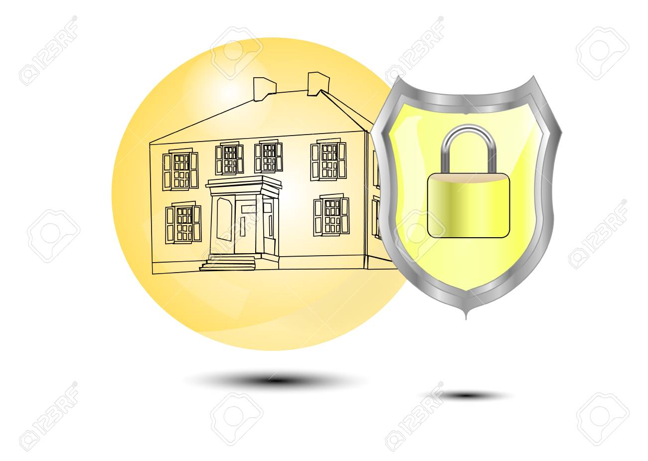 Protection of a house with shield Stock Vector - 12488788