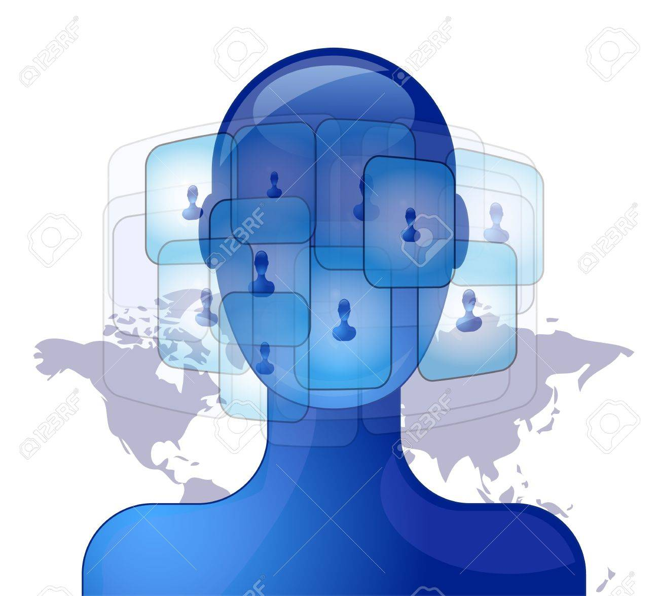 Blue person with international friends on social media Stock Vector - 12710945