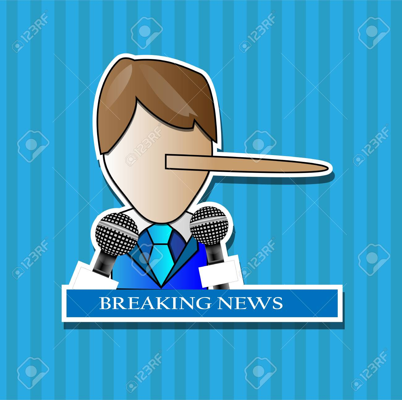 Press conference with person making a lie with breaking news Stock Vector - 14700693
