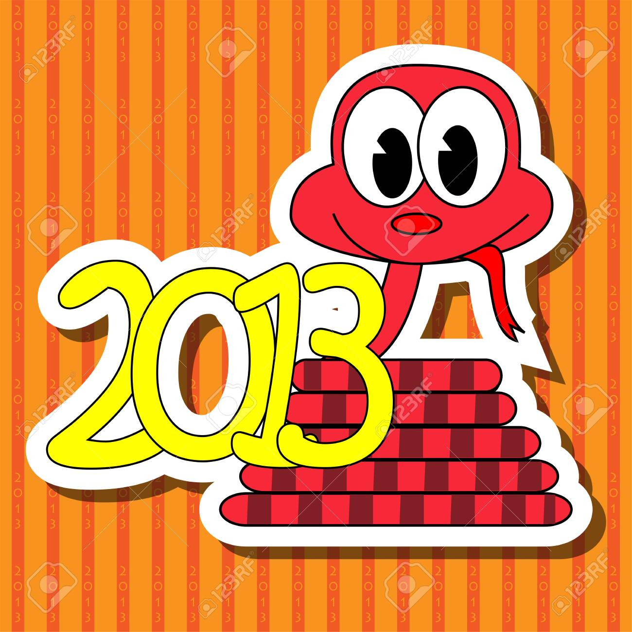2013 year of the snake with red background Stock Vector - 14700694
