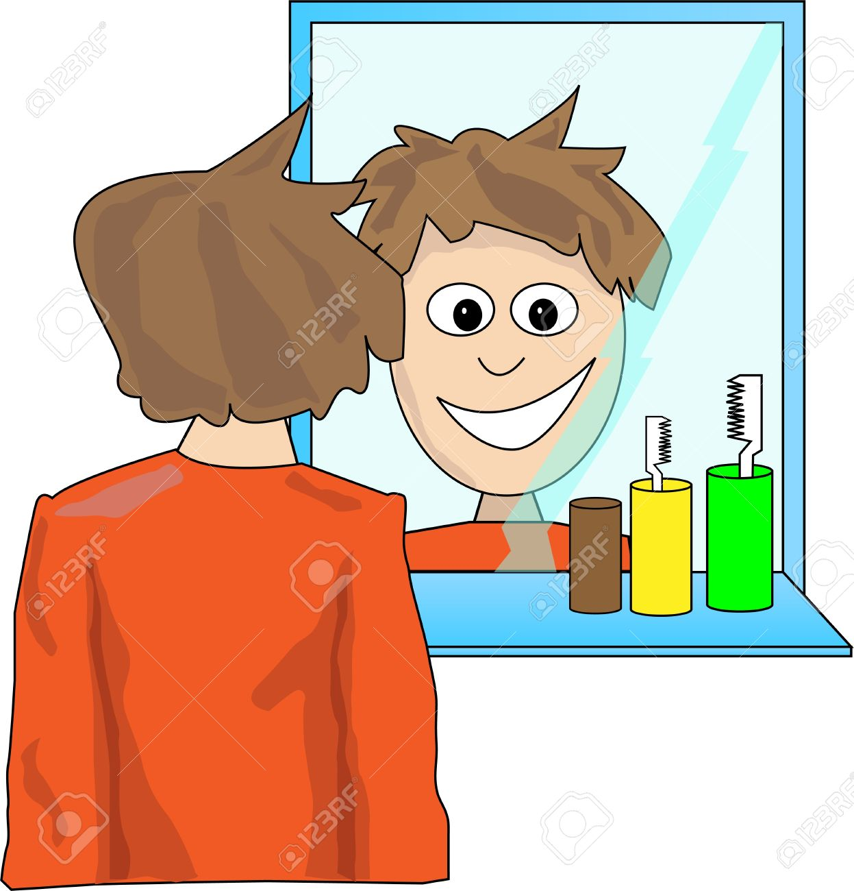 Young man looking in the mirror Stock Vector - 16394476