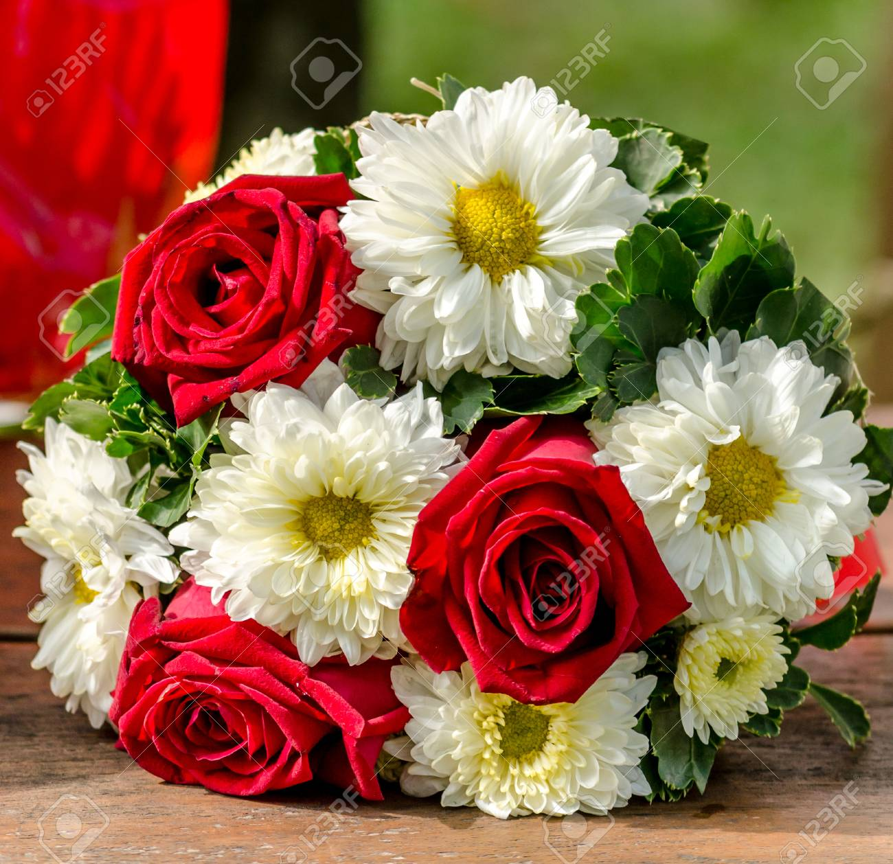 Flower Bouquet In The Anniversary Time In Garden Stock Photo ...