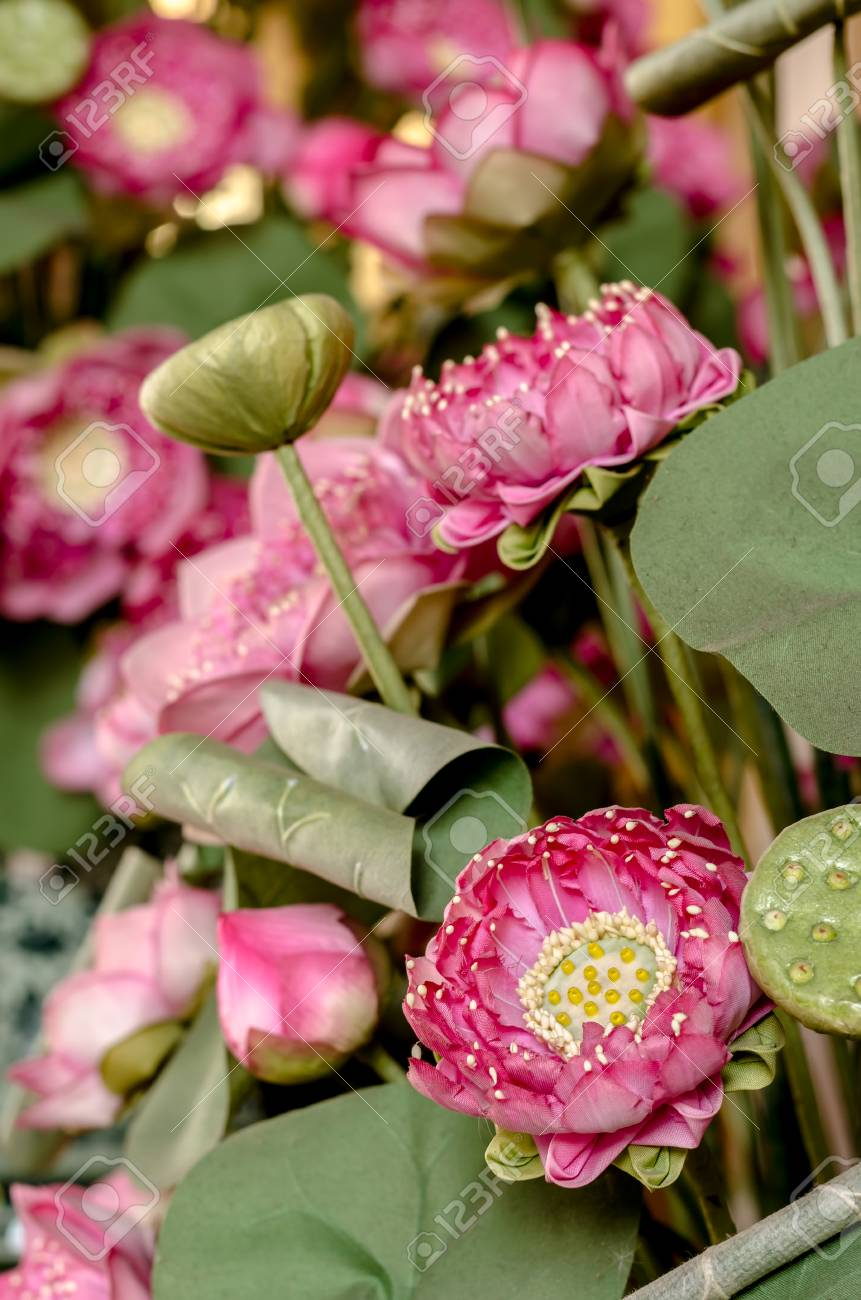 Fabric Lotus Flowers In The Thai Temple Stock Photo Picture And