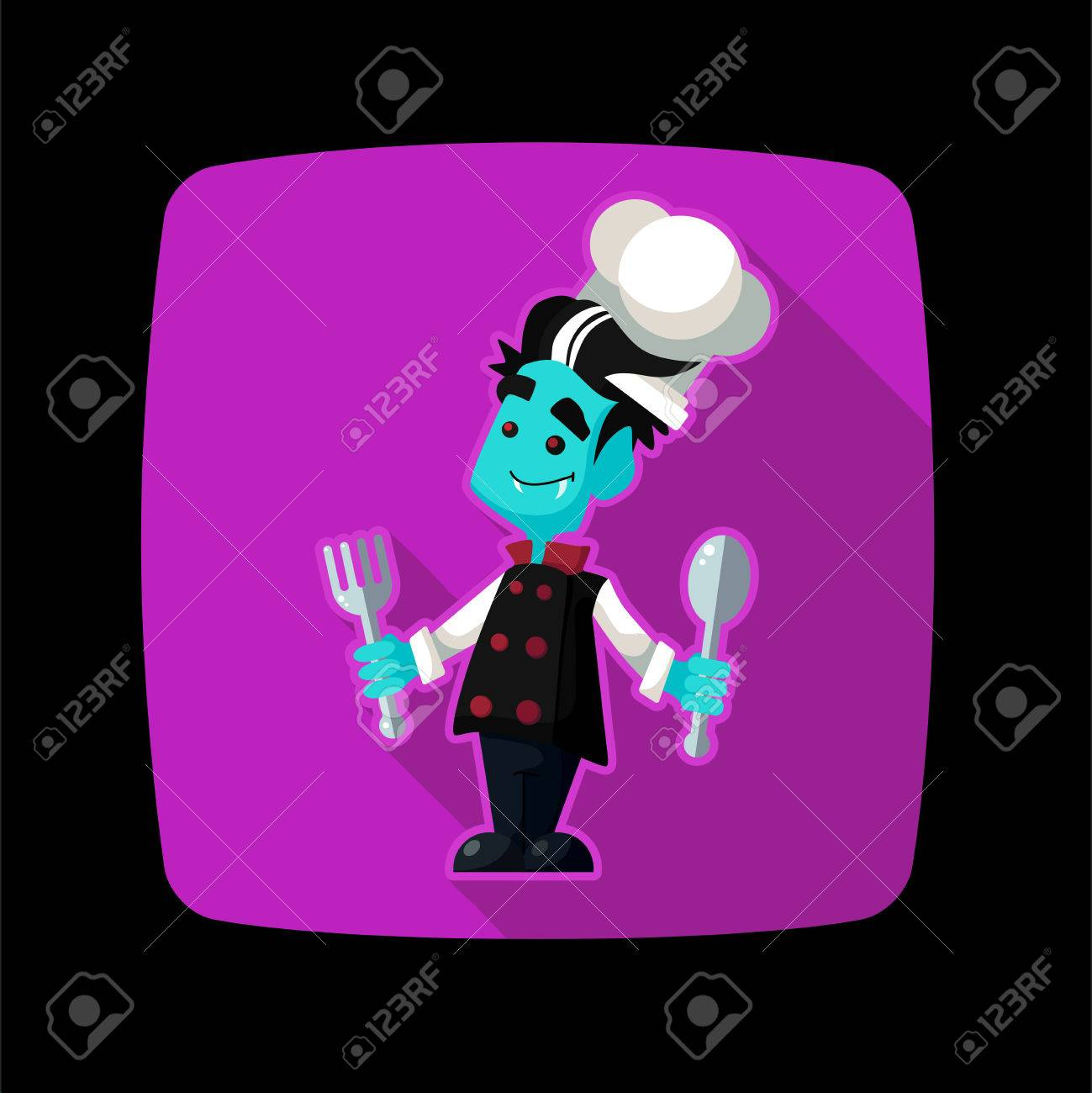 Carre Plat Icone Vecteur Avec Vampire Cuisinier Et D Ustensiles De