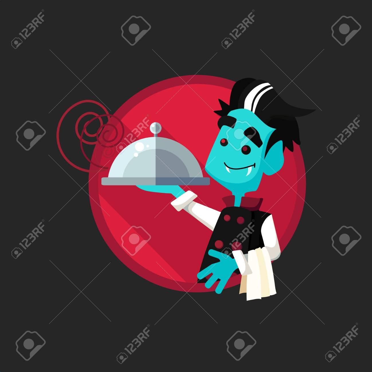 Round Plat Icone Vecteur Avec Vampire Cuisinier Et Ustensiles De
