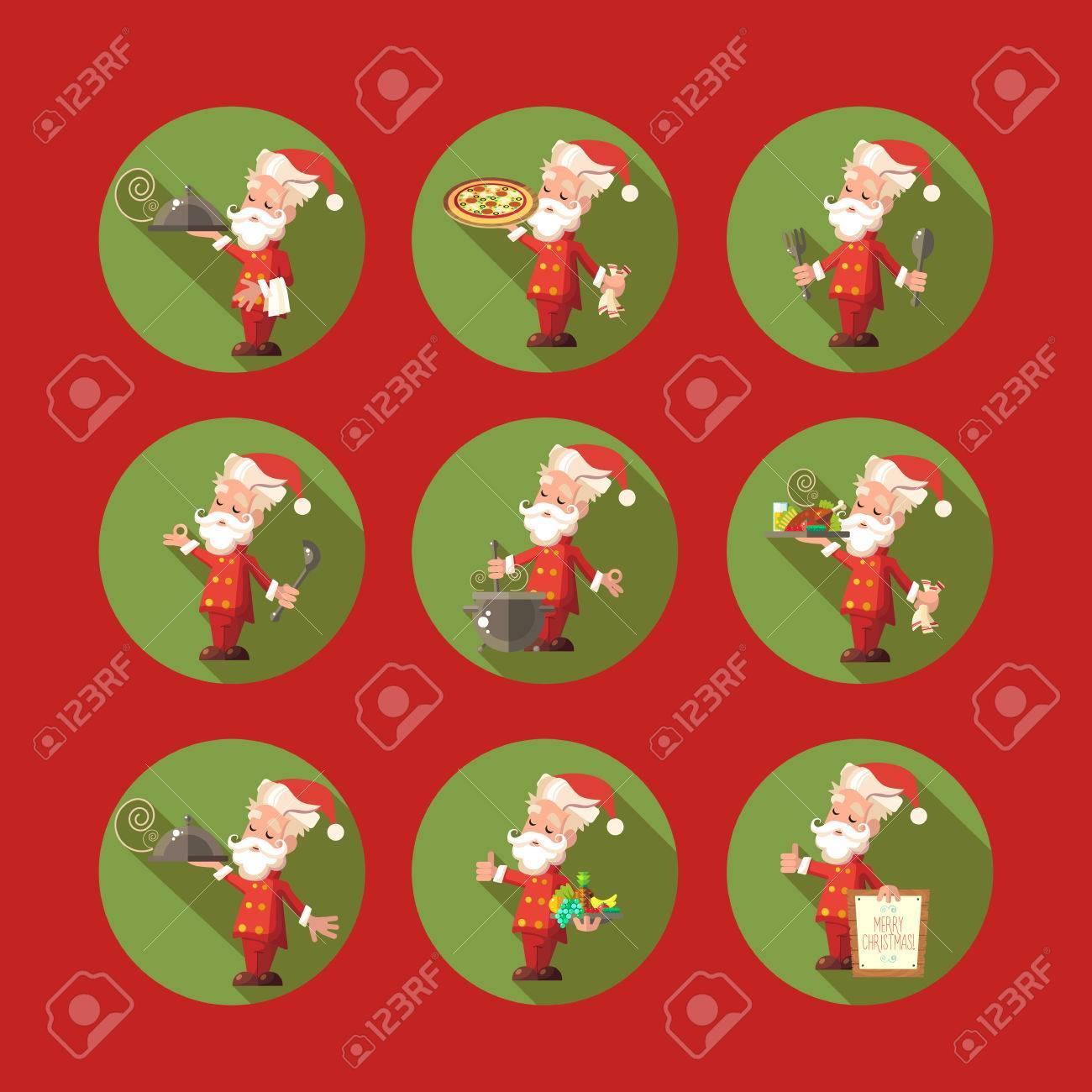 Carte De Vecteur Plat Avec Dessin Animé Père Noël Et Ustensiles De
