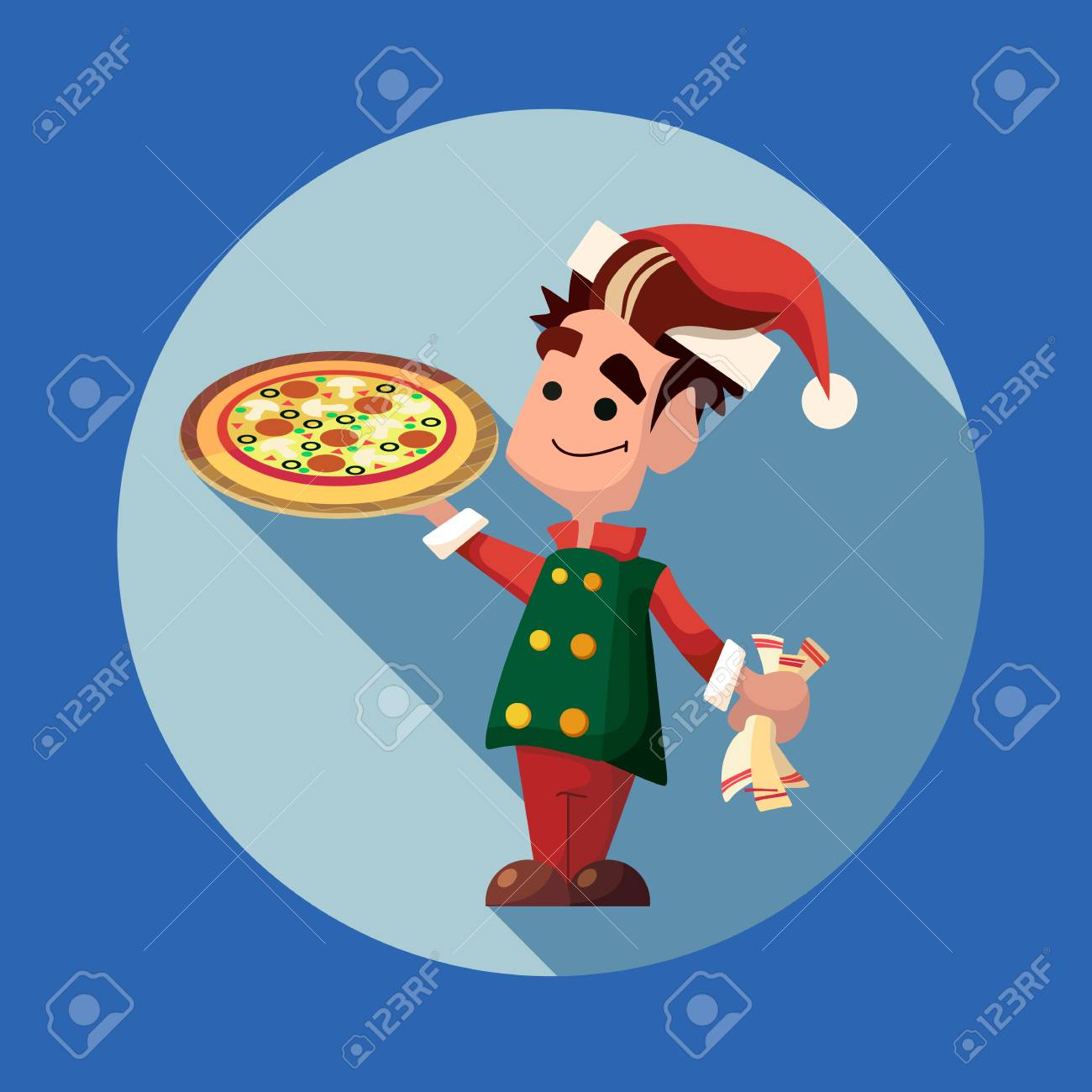 Flat Vector Card With Cartoon Elf And Kitchenware For Menu In ...