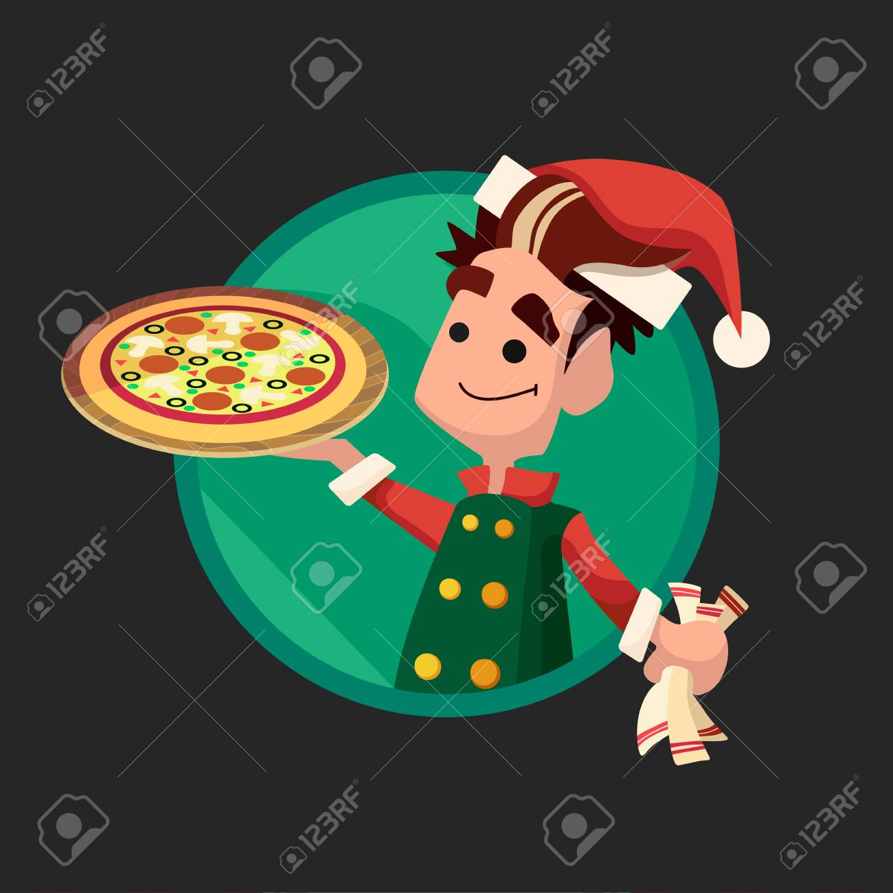 Flat Card With Cartoon Elf And Kitchenware For Menu In A Restaurant ...