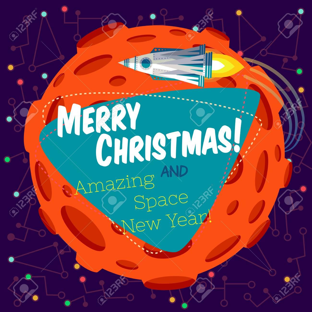 Weihnachtsgrußkarte: Frohe Weihnachten Und Erstaunlichen Raum Neues ...