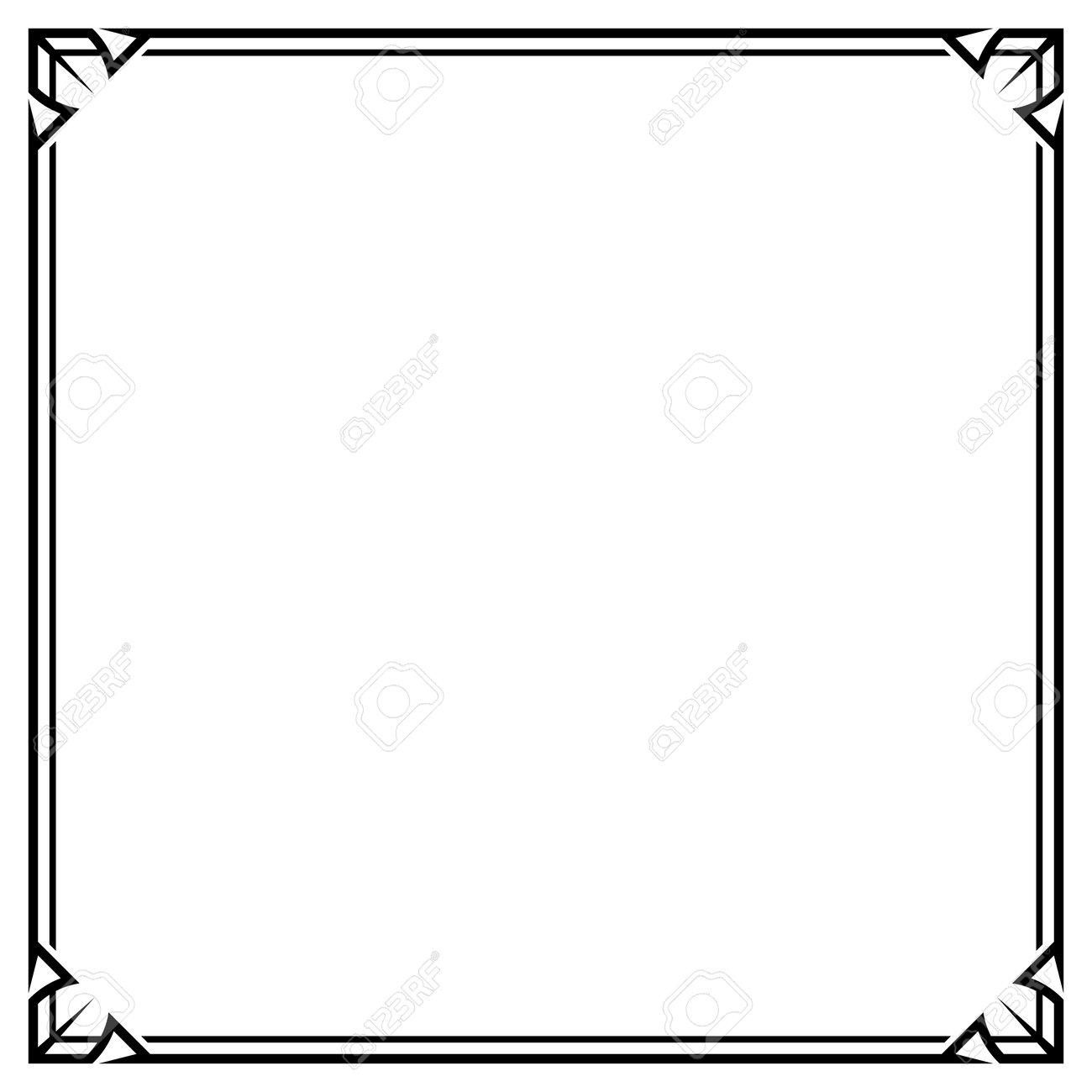 Frame Border Line Vector Simple Design, Black Square Shape - 168779556