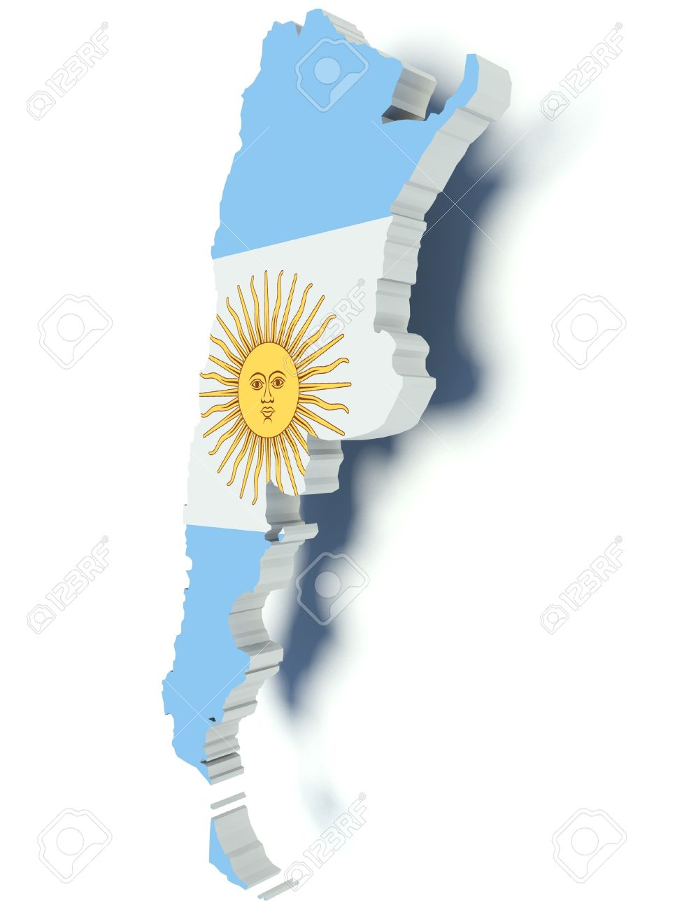 Map Of Argentina With Flag Colors D Render Illustration Stock - Argentina 3d map