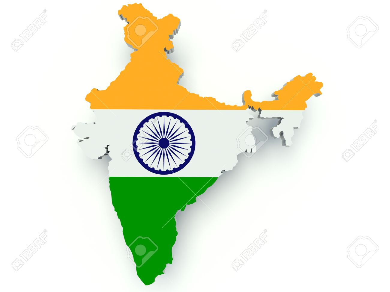 colour picture of indian map Map Of India With Flag Colors 3d Render Illustration Stock Photo colour picture of indian map