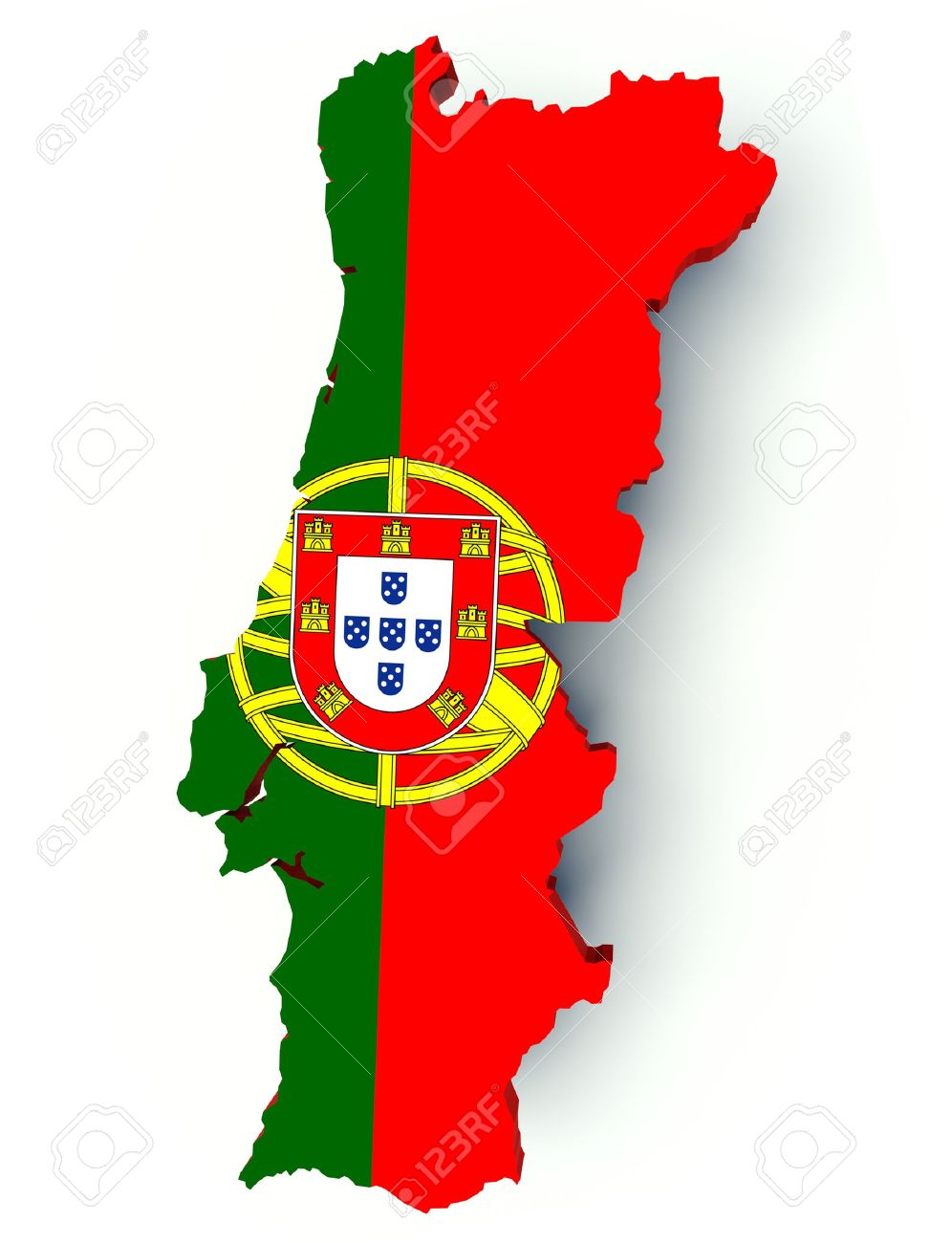Map Of Portugal With Flag Colors 3d Render Illustration Stock