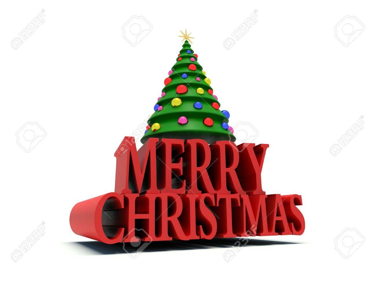 Stern Auf Weihnachtsbaum.Frohe Weihnachten Weihnachtsbaum Mit Dekorationen Und Stern 3d