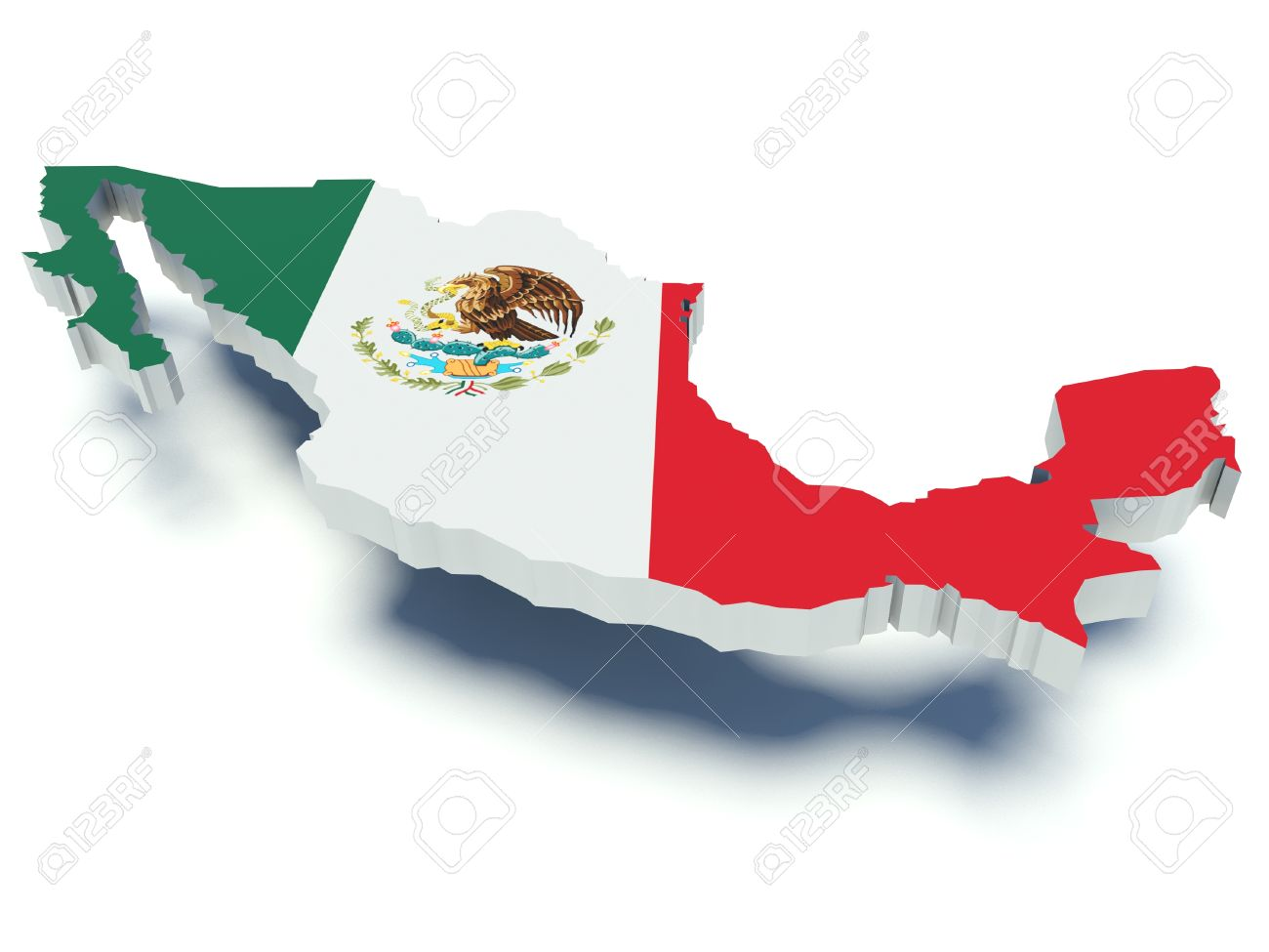 Map Of Mexico With Flag Colors 3d Render Illustration Stock Photo
