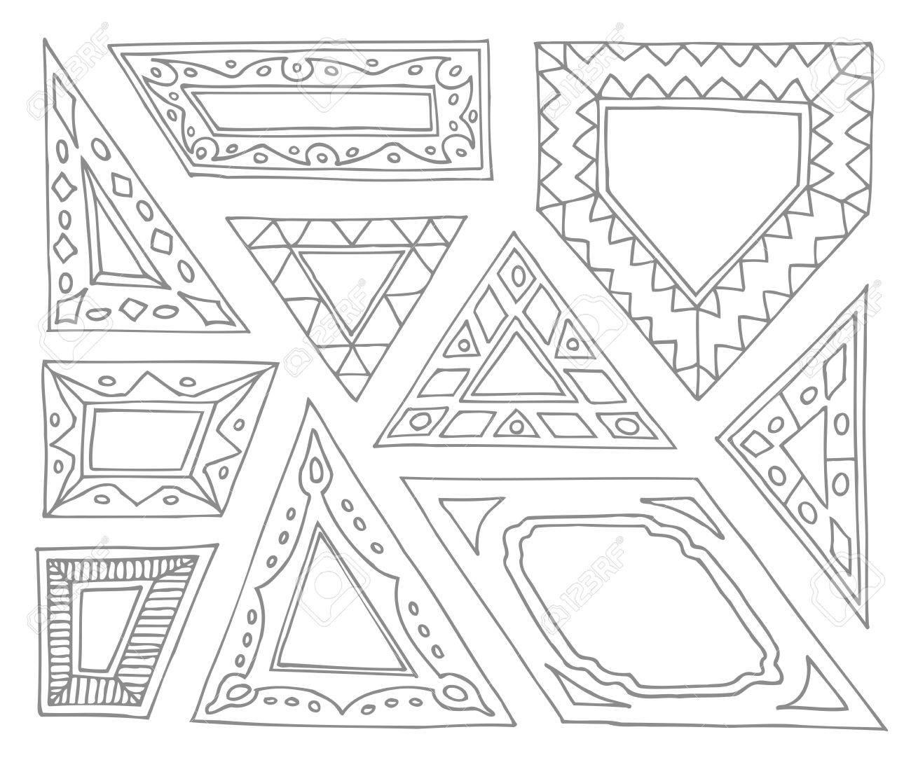 Set of hand drawn picture frames triangular parallelogram set of hand drawn picture frames triangular parallelogram quadrilateral pentagon unusual jeuxipadfo Images
