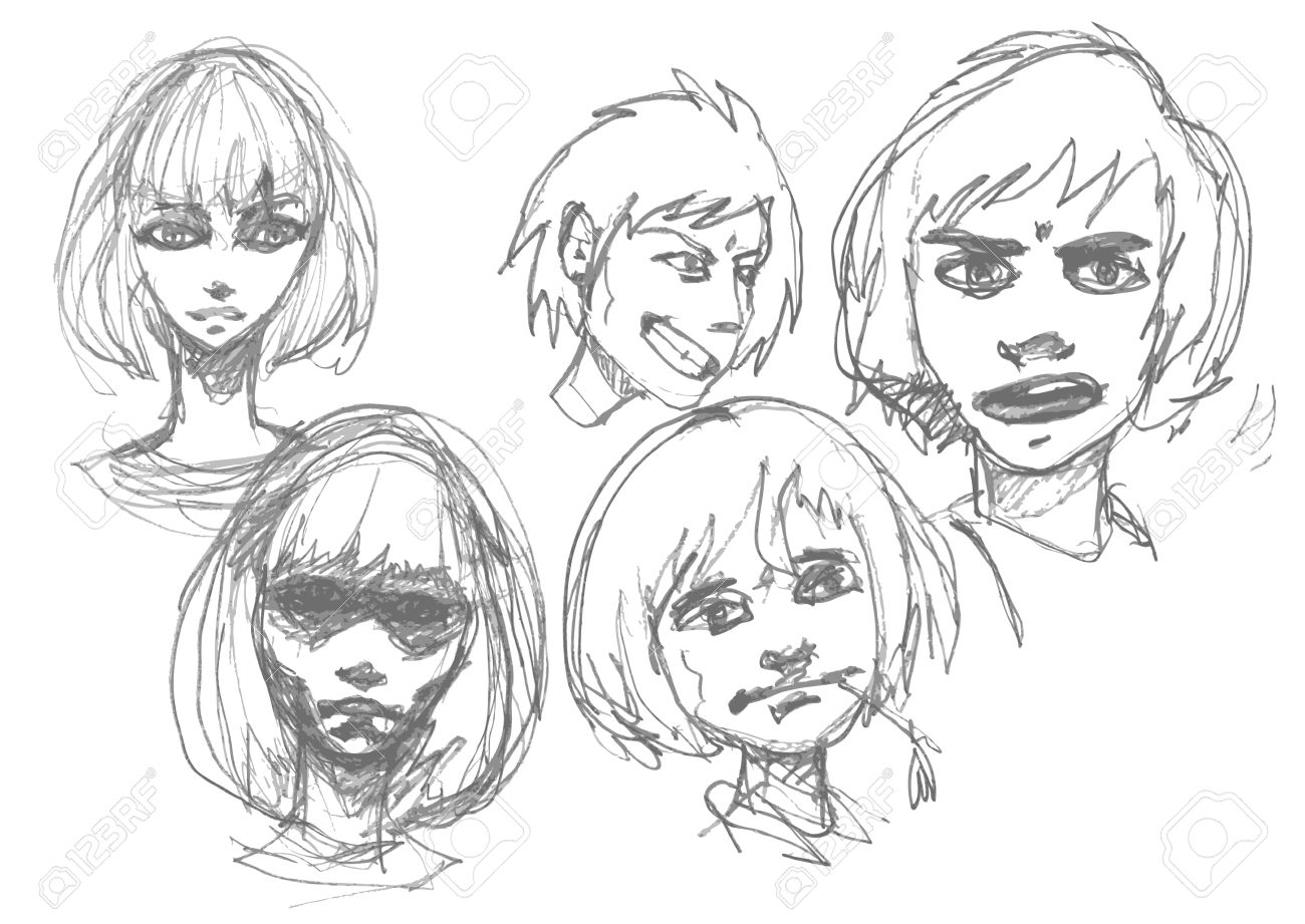 Manga sketch set of boys and girls faces anime style pencil drawing isolated on