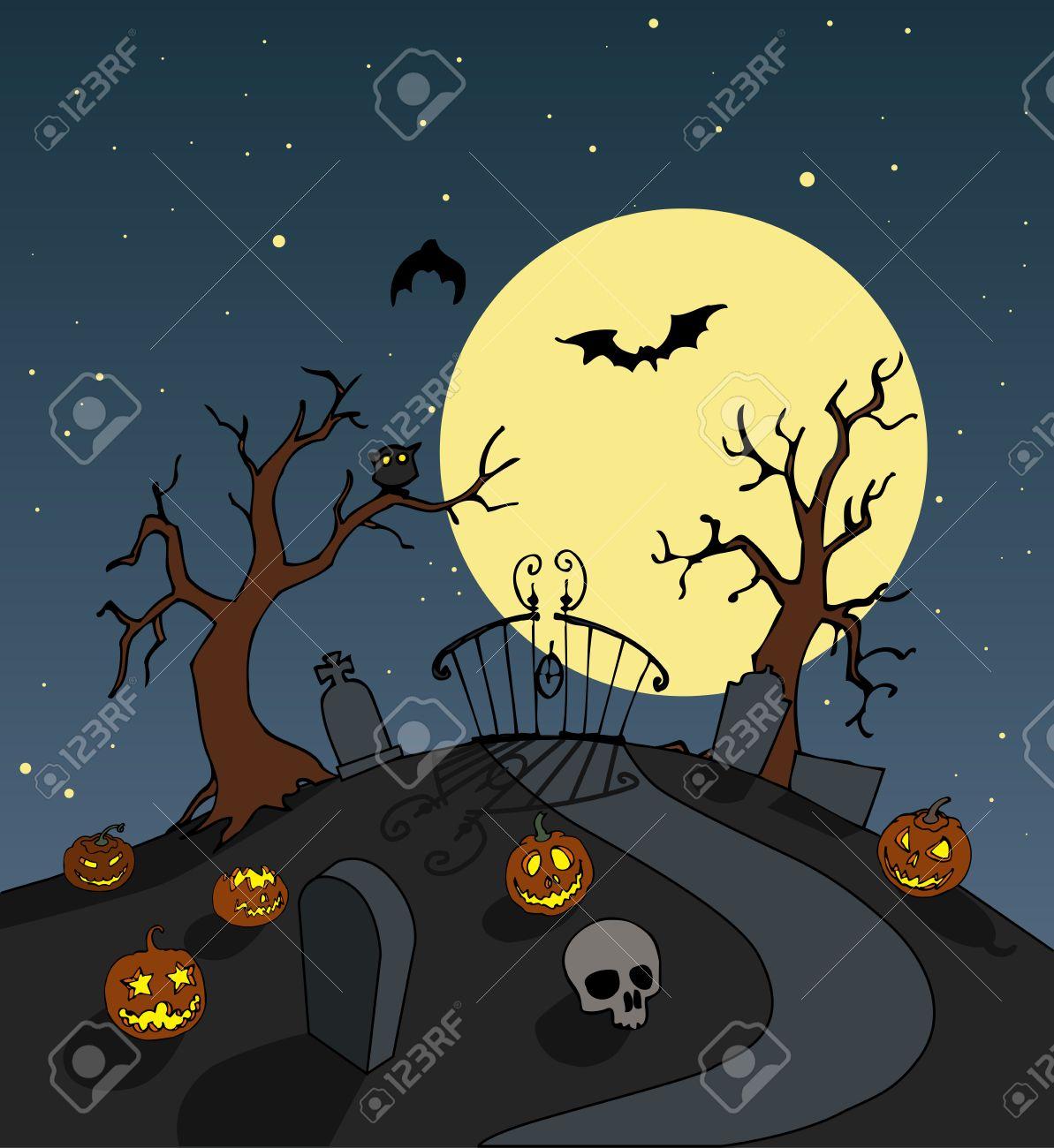 halloween cemetery entrance background. spooky full moon night