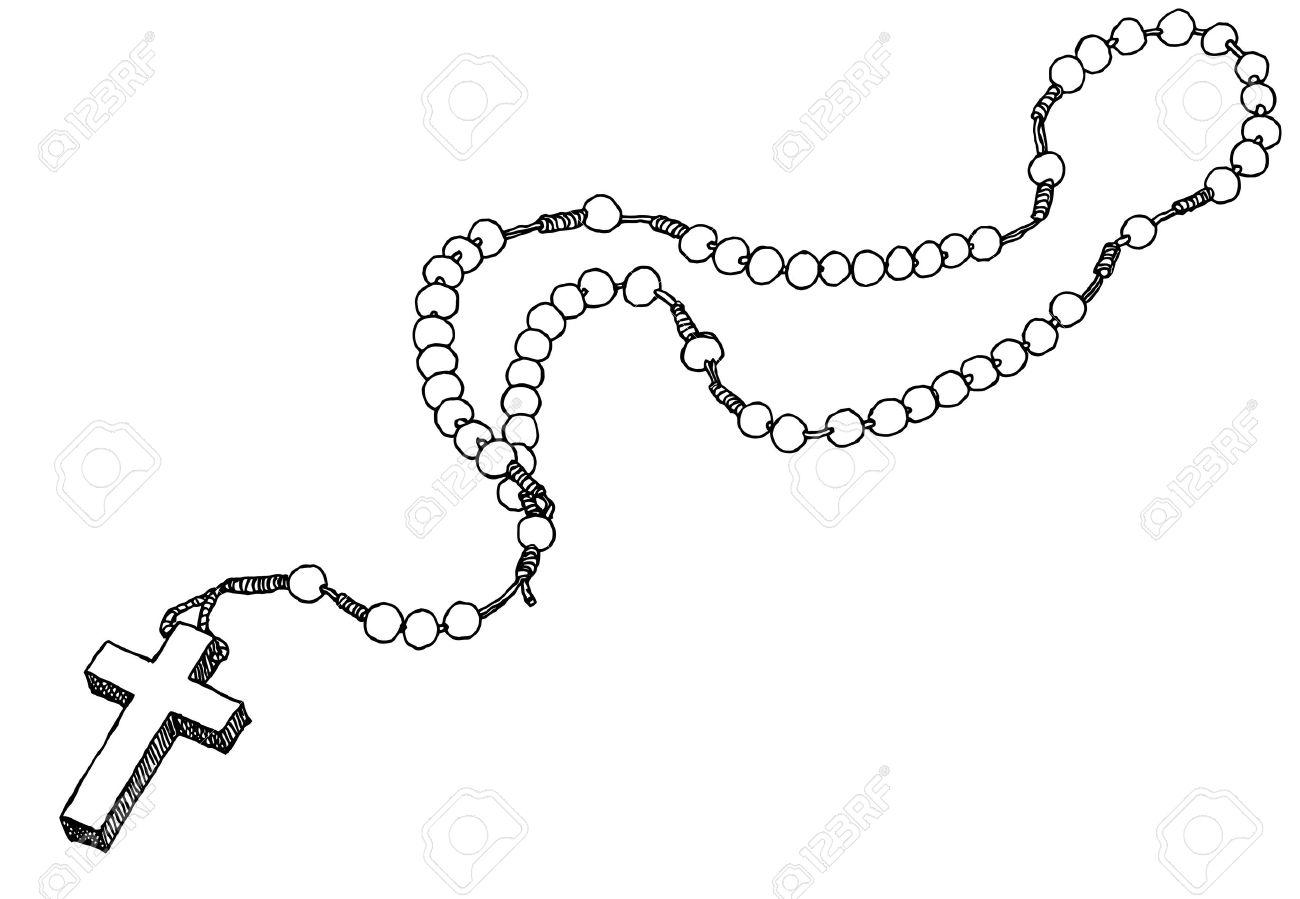 Dessin De Chapelet tiré par la main chapelet. vector illustration. banque d'images et