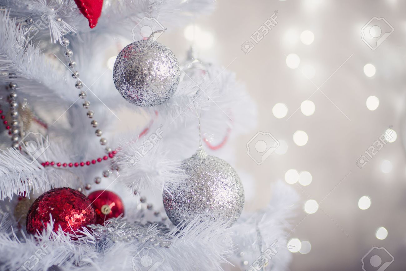 White Christmas Images Free.White Christmas Decoration With Balls On Fir Branches With Blurred