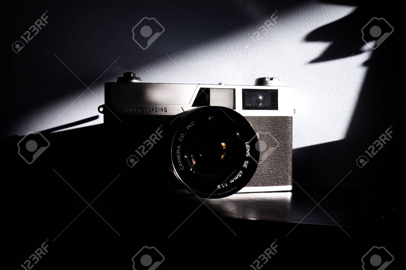Film camera retro35mm film vintage look black and white photograph studio