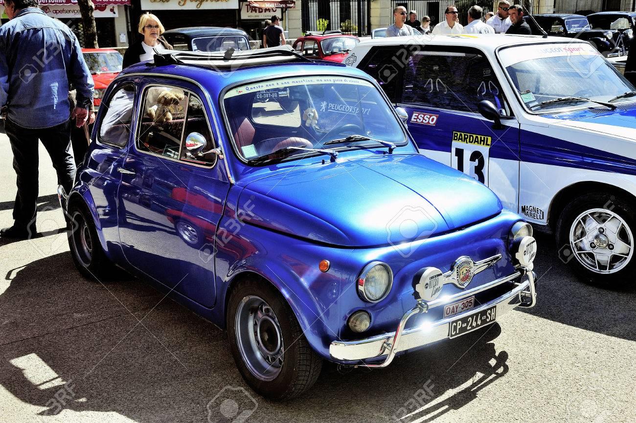 Viejo Fiat 500 Abarth De Carreras Equipado Fotografiado Rally De