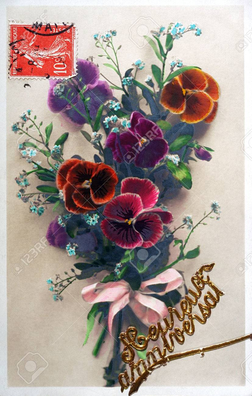 Old postcard of flowers to wish a happy birthday stock photo old postcard of flowers to wish a happy birthday stock photo 53874941 izmirmasajfo Image collections
