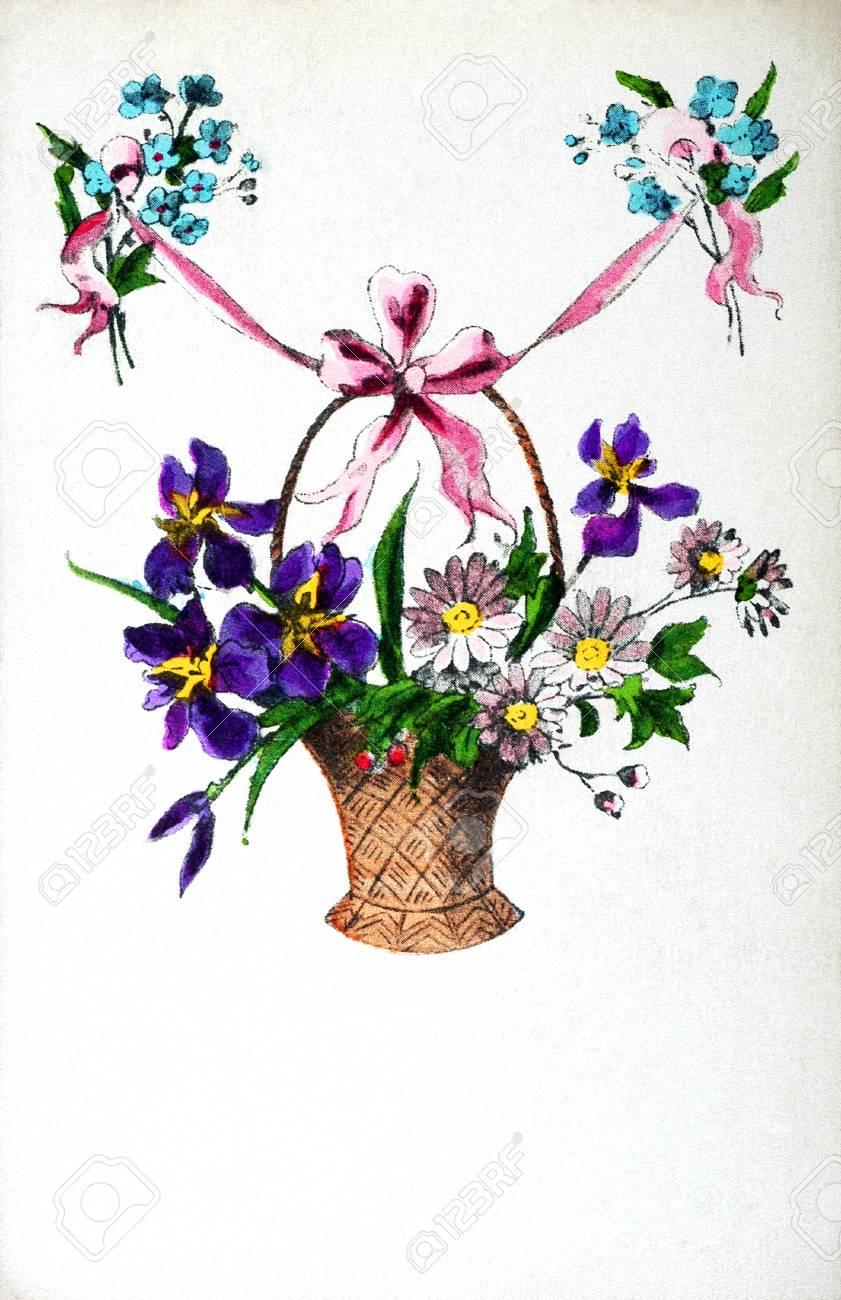 Carte Postale Ancienne Avec Un Bouquet De Fleurs Peut être Utilisé Pour  Toutes Les Occasions Banque D'Images Et Photos Libres De Droits. Image  53925151.