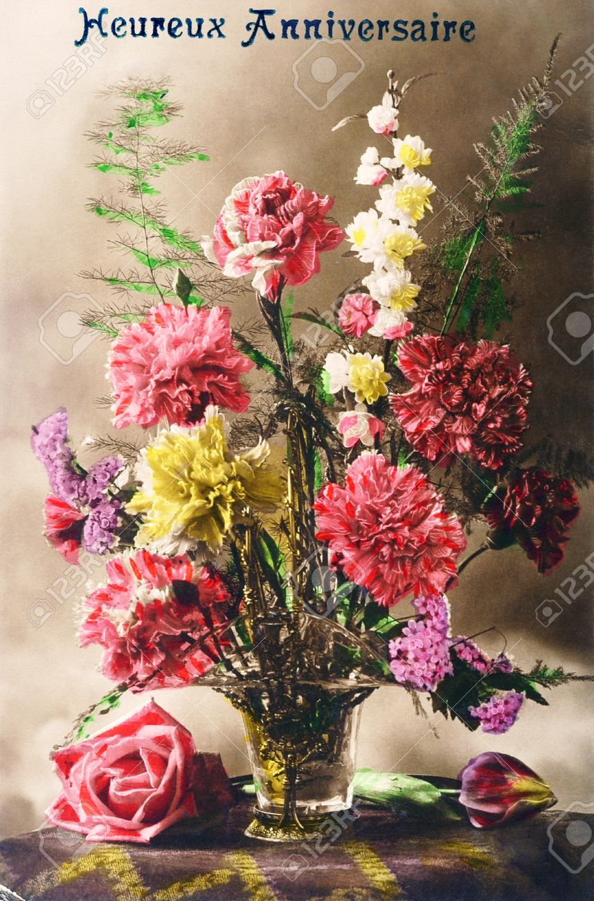 Old postcard with a bouquet of flowers for a happy birthday stock old postcard with a bouquet of flowers for a happy birthday stock photo 53925136 izmirmasajfo Image collections