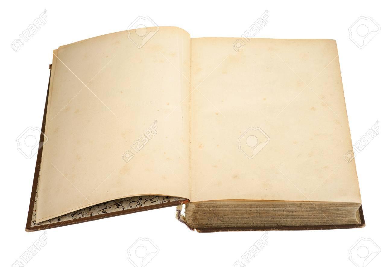 Livre Ancien Ouvert Isolee Sur Blanc