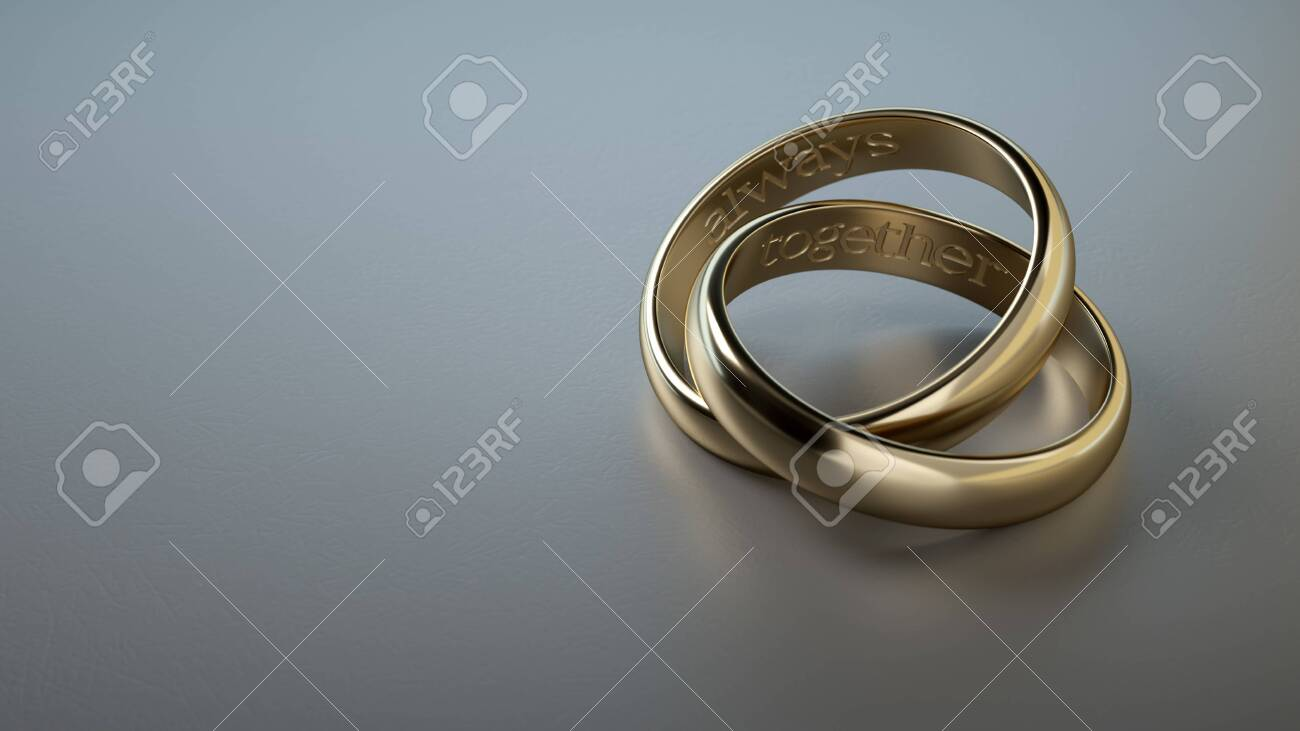 Two Wedding Rings Intertwined With Phrase Always Together In